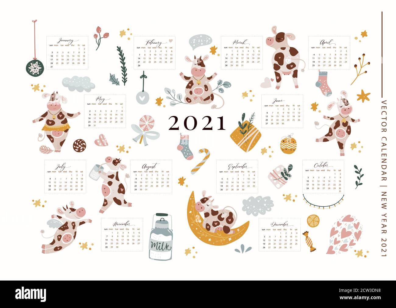 Natale 2021 Calendario.Natale Carino Cartoon Mucca Vettore 2021 Calendario Modello Illustrazione Con Disegni A Mano Animali E Decorazioni Poster Del Saluto Del Nuovo Anno 2021 Decorato Per I Formati A3 A4 A5 Immagine E