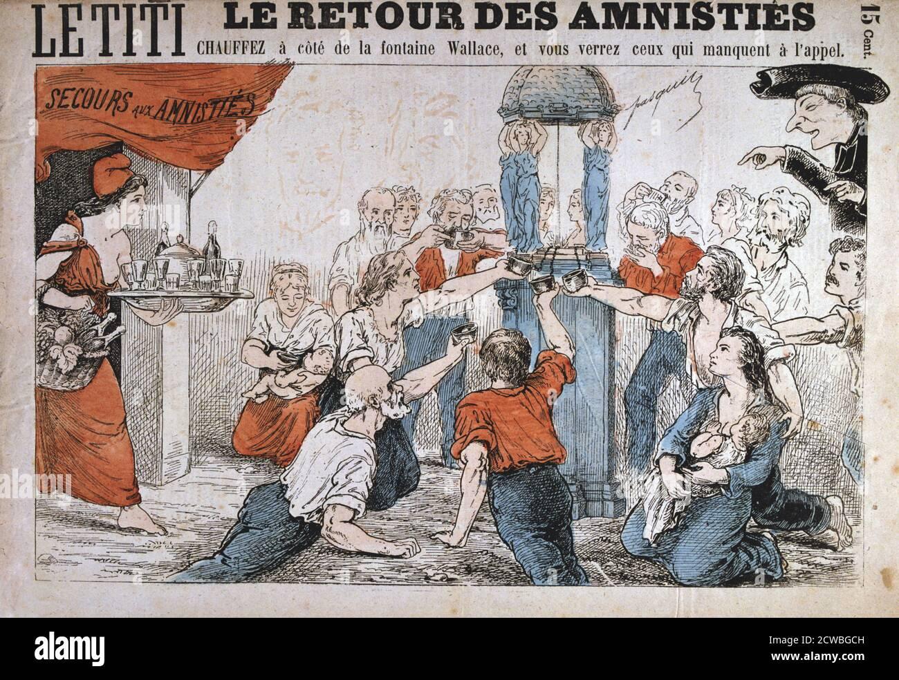 Cartoon, la Comune di Parigi, 1871. La Comune di Parigi è stato stabilito quando i cittadini di Parigi, molti di loro armate guardie nazionali, si ribellò contro le politiche del governo conservatore formato dopo la fine della guerra franco-prussiana. La sinistra del regime comune regnava a Parigi per due mesi fino a quando le truppe del governo riprendeva la città di sanguinosi combattimenti nel maggio 1871. Una delle prime politiche da essa attuato era di concedere una remissione dei canoni di locazione maturati durante il periodo dell'assedio prussiano di Parigi. Gli eventi del Comune sono state fonte di ispirazione per Karl Marx come pure dopo l comunista Foto Stock