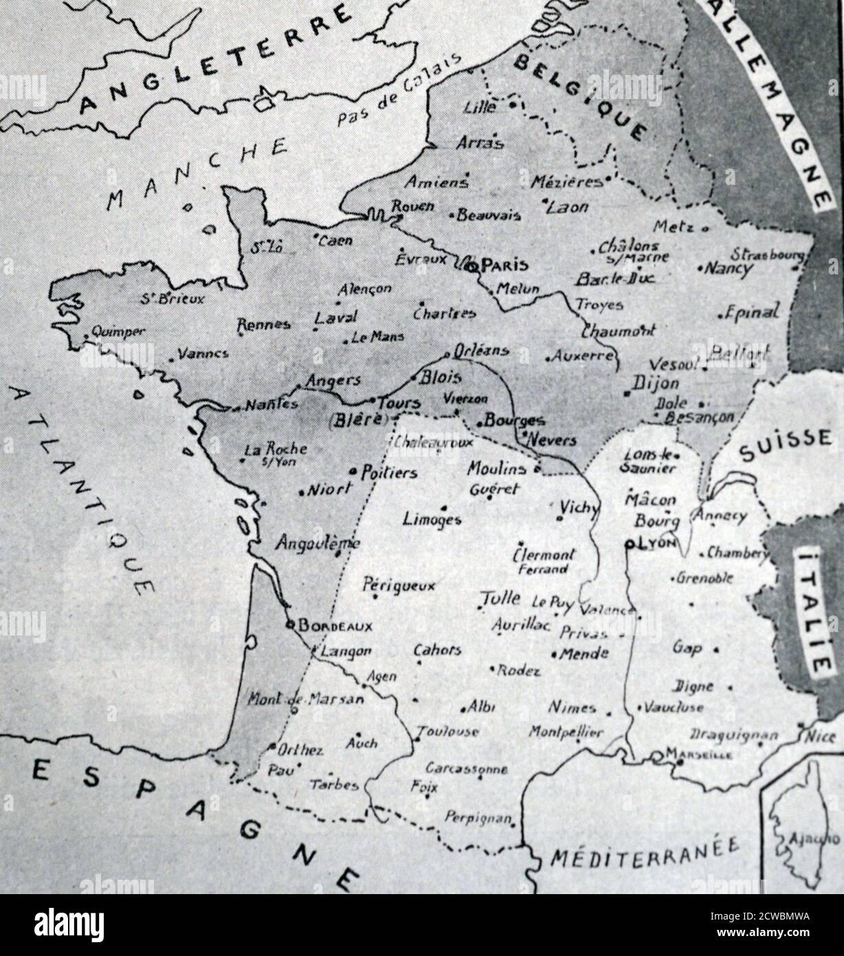 Cartina Francia Sud Dettagliata.France Map Black White Immagini E Fotos Stock Alamy
