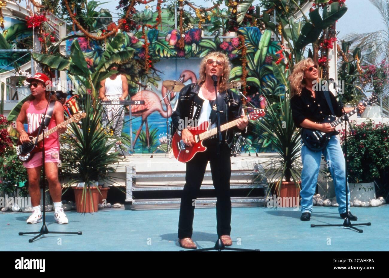 ZDF Fernsehgarten, Sonntags-Unterhaltungsshow, Sendung vom 3. Juli 1994, Gaststar: Band Smokie Foto Stock