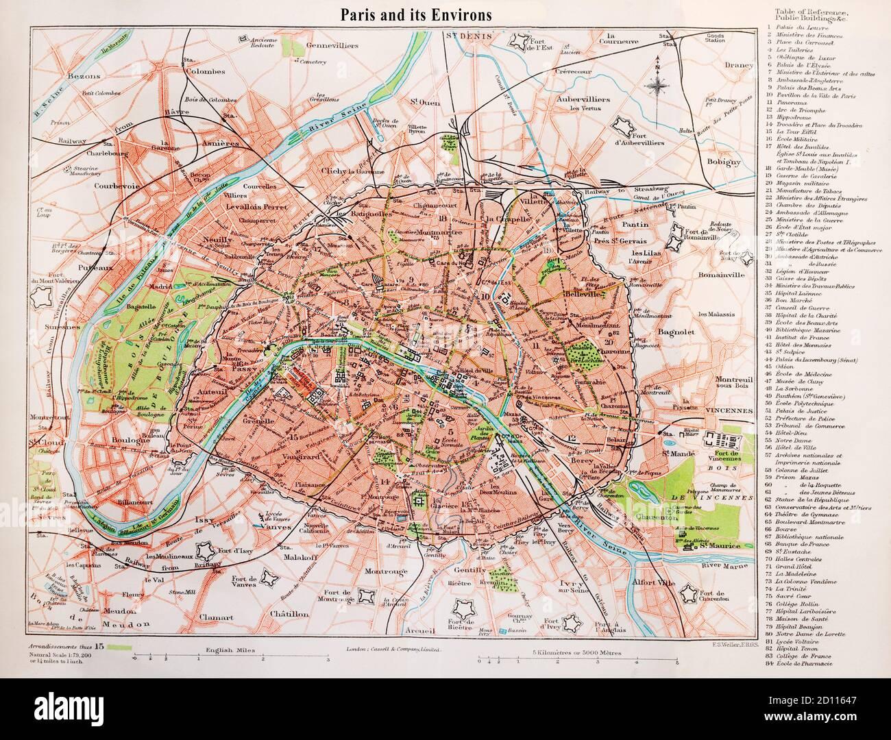 Cartina Di Parigi E Dintorni.Paris Map 19th Century Immagini E Fotos Stock Alamy