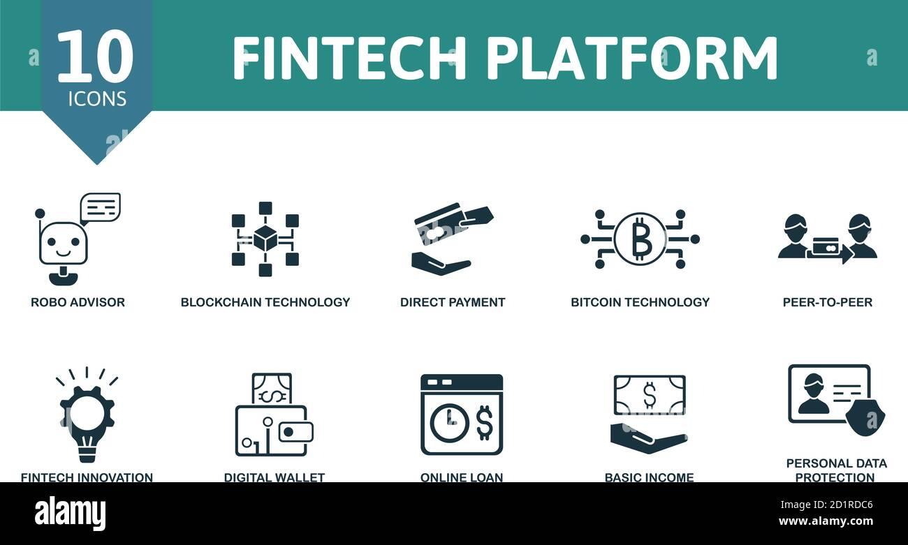 Set di icone della piattaforma FinTech. La raccolta contiene pagamenti diretti, consulenti robo, tecnologia blockchain, peer-to-peer e icone. Piattaforma FinTech Illustrazione Vettoriale