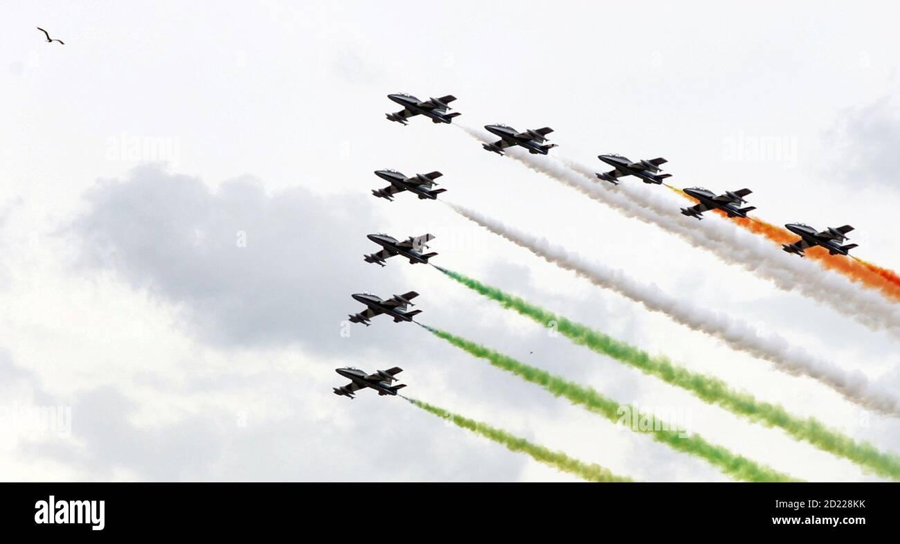 Un gabbiano (top L) vola nel cielo come la squadra acrobatica italiana delle Freccie Tricolori si esibisce per il 60° anniversario della fondazione della Repubblica a Roma il 2 giugno 2006. REUTERS/Alessandro Bianchi (ITALIA) Foto Stock