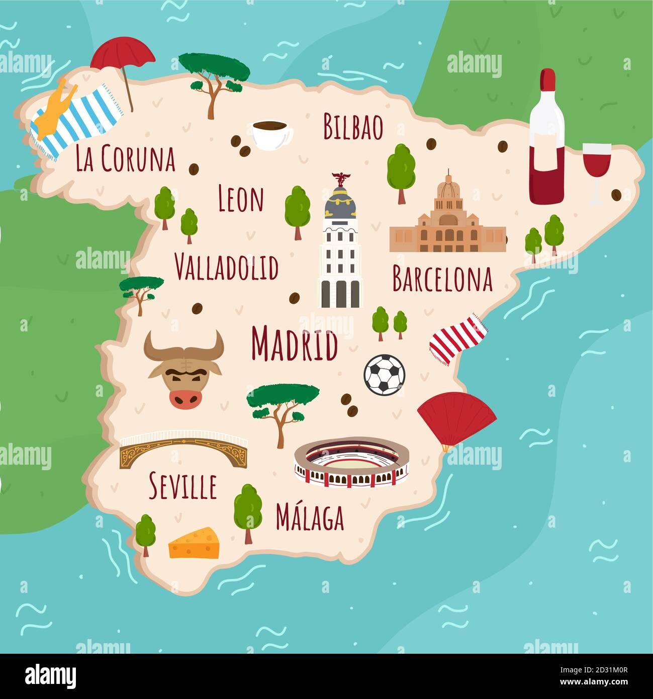 Cartina Turistica Spagna.Cartoon Mappa Della Spagna Viaggia Con Un Illustrazione Dei Monumenti Storici Degli Edifici Del Cibo E Delle Piante Spagnole Infografiche Turistiche Divertenti Simboli Nazionali Famoso Immagine E Vettoriale Alamy