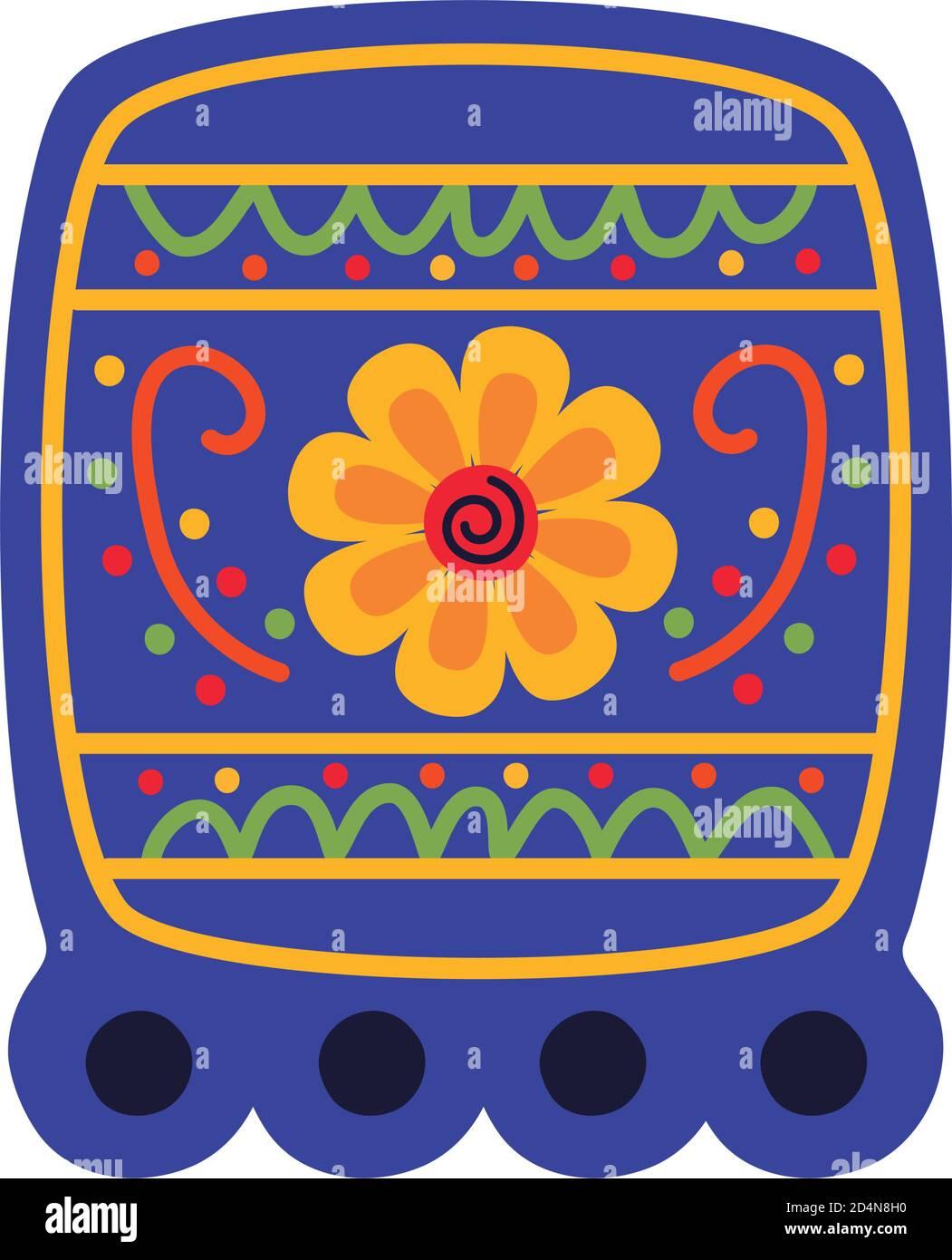 piazza garland celebrazione messicana con fiore piatto stile icona vettore disegno dell'illustrazione Illustrazione Vettoriale