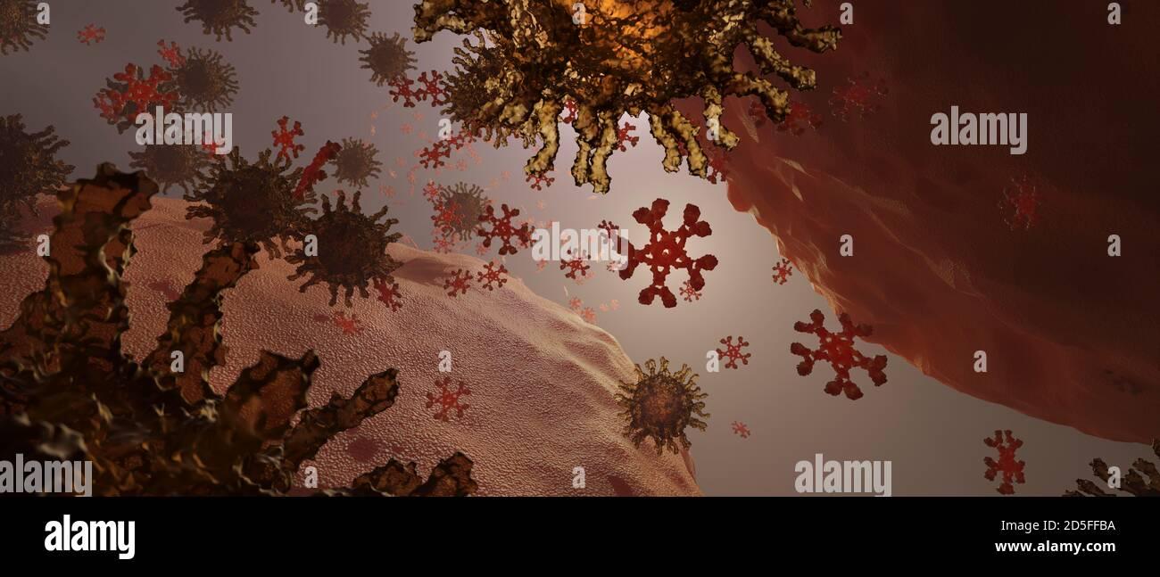 Virus e anticorpi. L'IgM è l'anticorpo più grande (in rosso) ed è il primo anticorpo a comparire nella risposta all'esposizione iniziale ad un antigene Foto Stock
