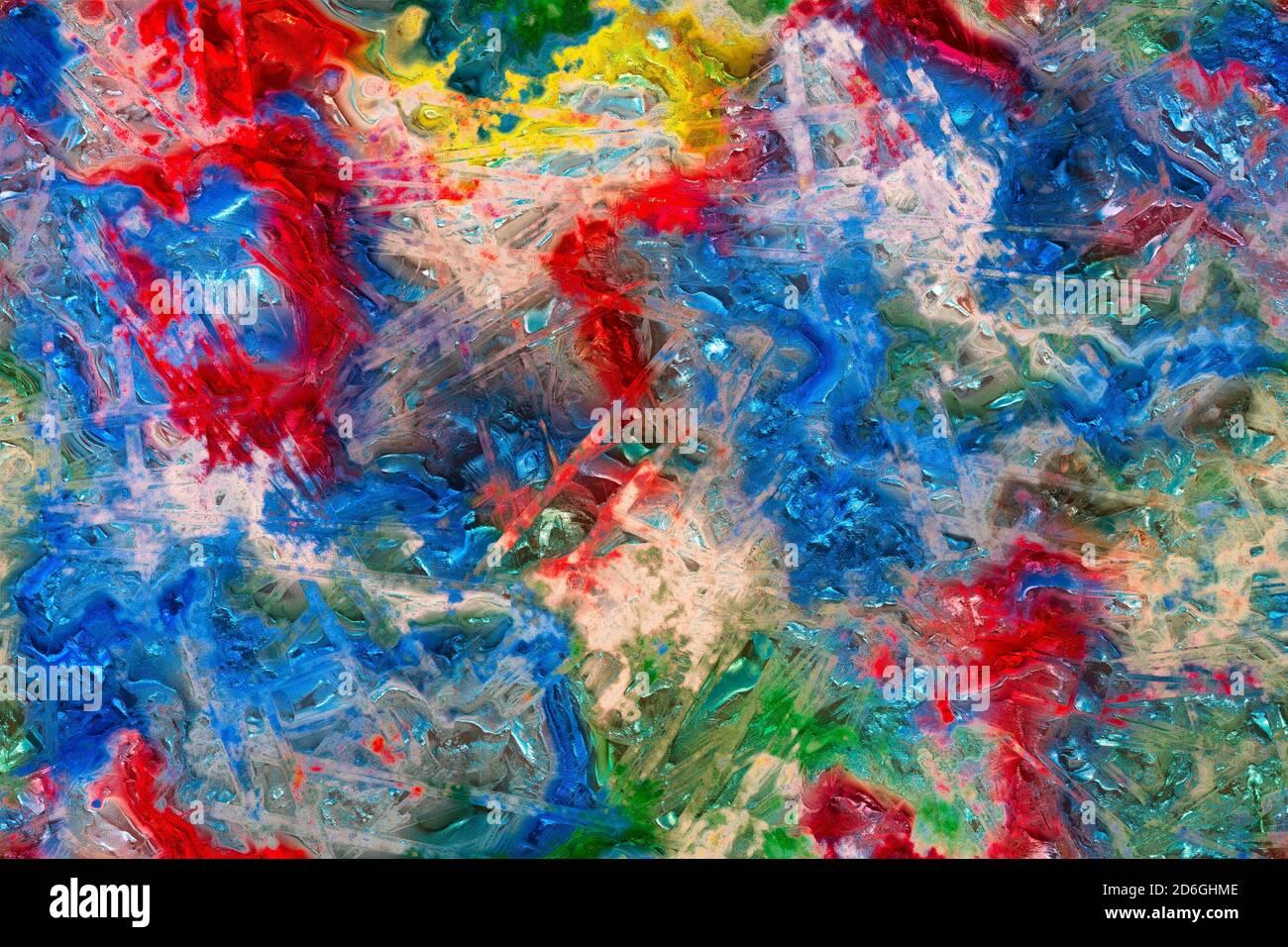 Sfondo astratto con un mix di macchie colorate e linee geometriche irregolari. Miscela di colori in una texture multicolore di plastica o aspetto gemma. Foto Stock