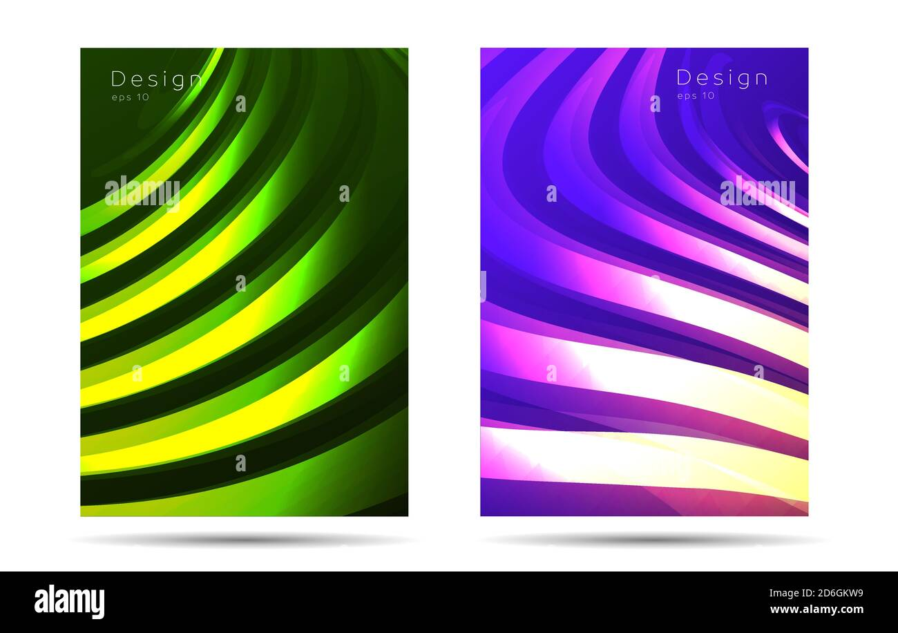 Set di copertina o modello di sfondo poster con texture curve fluide, moderno design banner Illustrazione Vettoriale