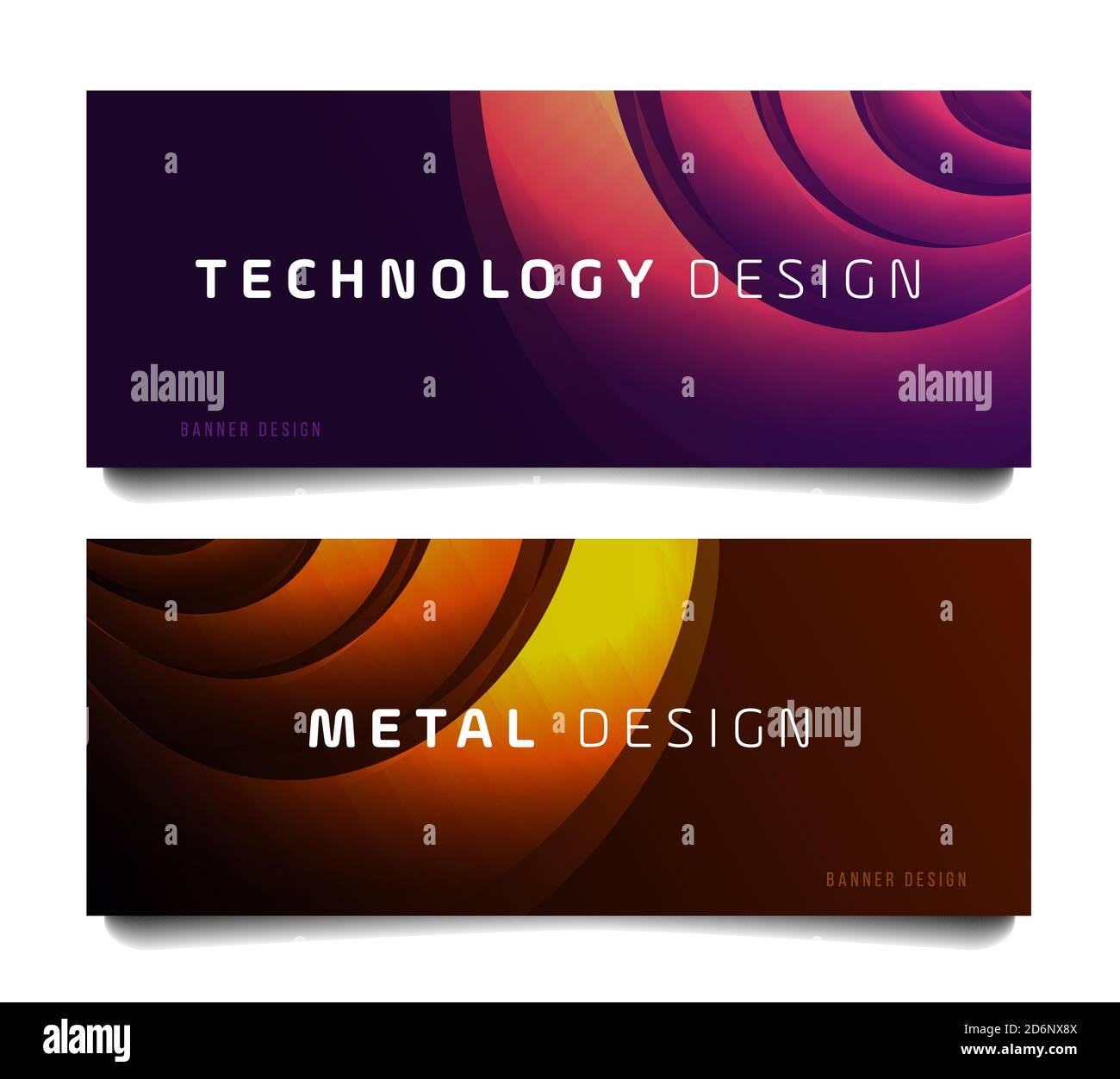 Set di banner orizzontali per eventi aziendali con abstract in metallo cerchi e copia tecnologica Illustrazione Vettoriale