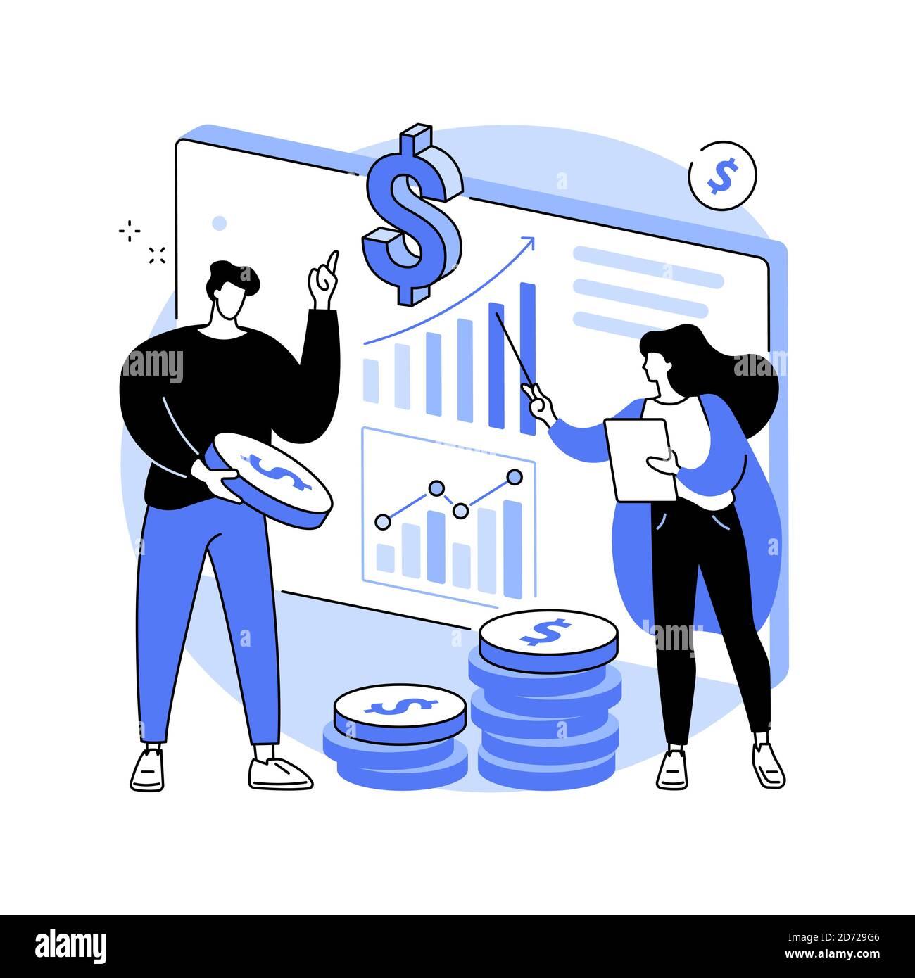 Illustrazione vettoriale del concetto astratto del consulente finanziario. Illustrazione Vettoriale