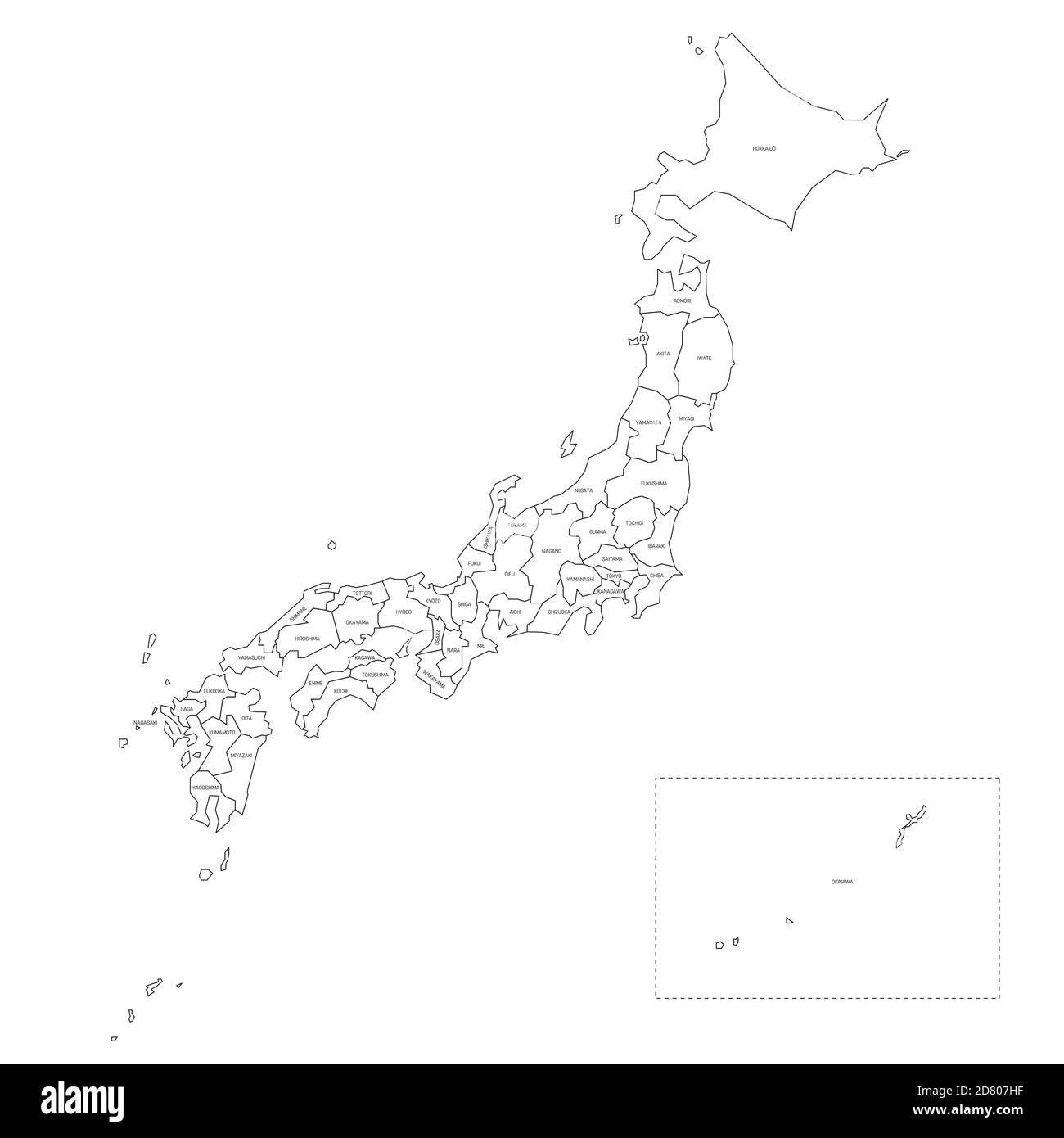 Cartina Del Giappone Politica.Mappa Politica Vuota Del Giappone Divisioni Amministrative Prefetture Semplice Mappa Vettoriale Con Contorno Nero Immagine E Vettoriale Alamy