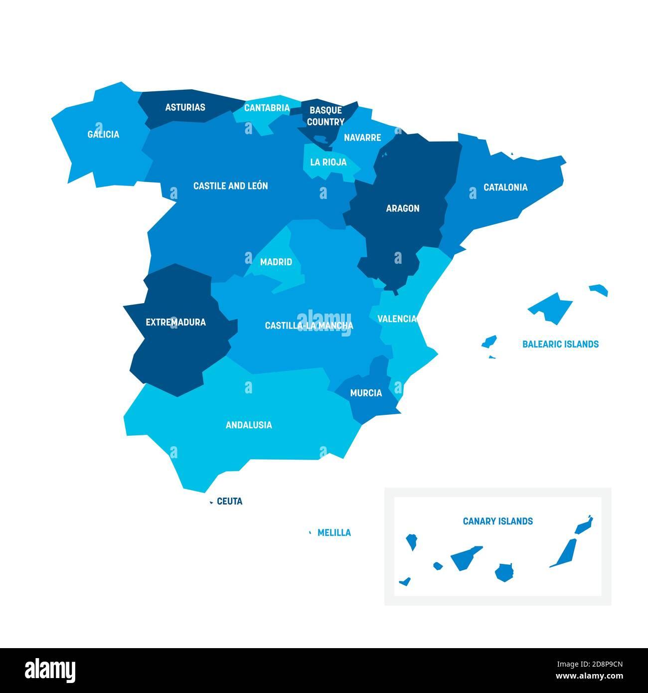 Cartina Spagna Politica Da Stampare.Mappa Amministrativa Di Spagna Immagini E Fotos Stock Alamy