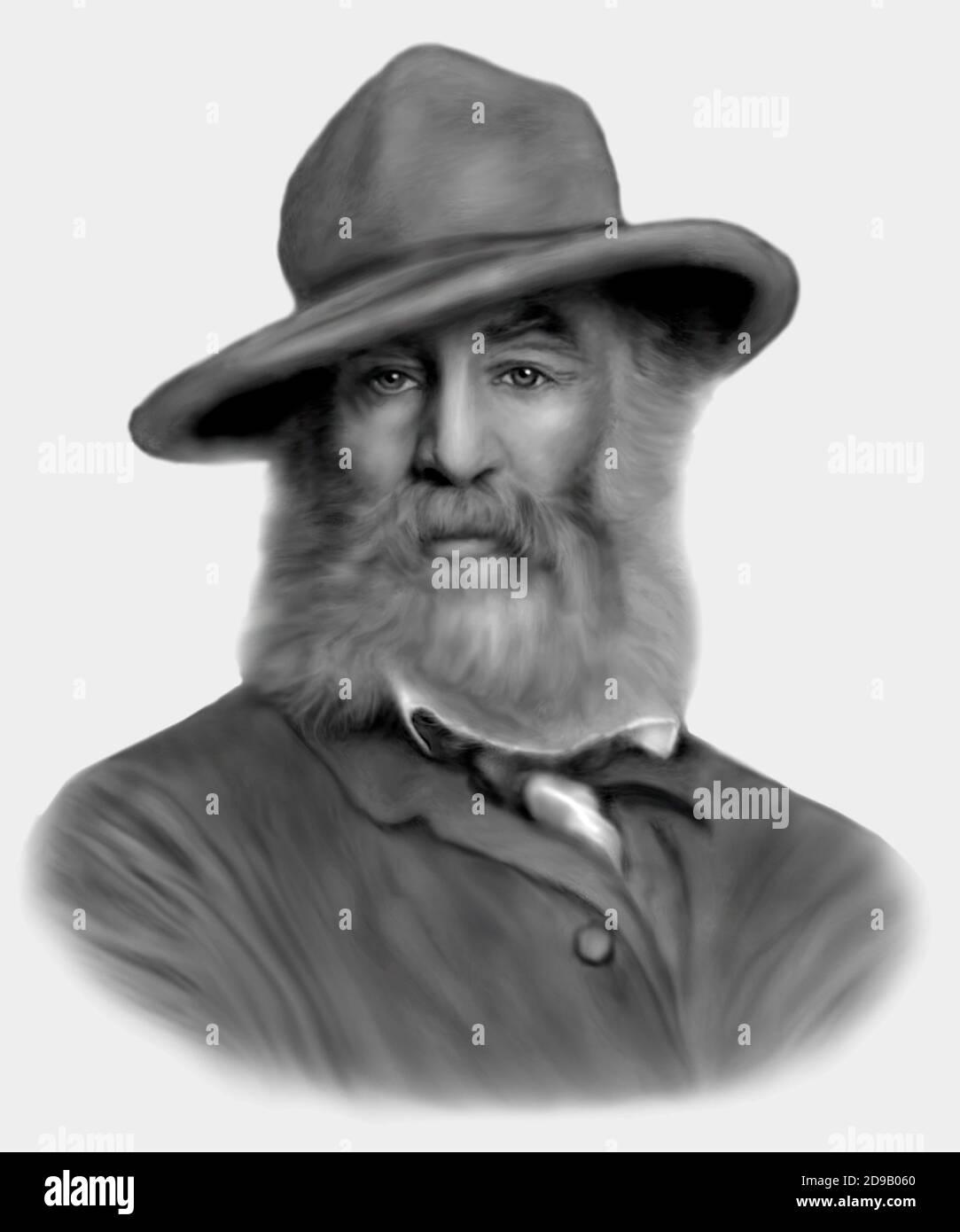 Walt Whitman 1819-1892 poeta americano saggista giornalista Foto Stock