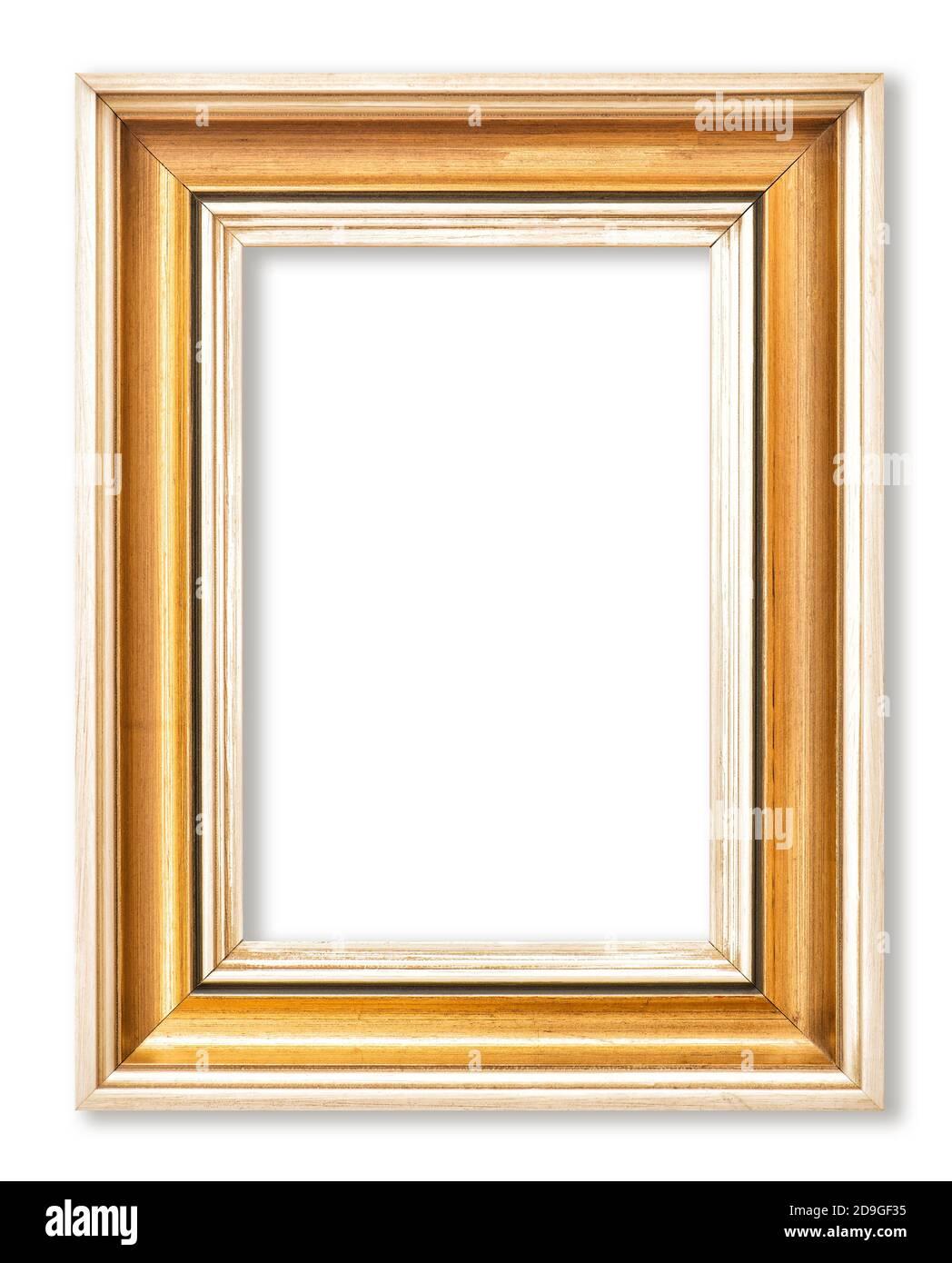 Cornice in legno dorato isolata su sfondo bianco Foto Stock