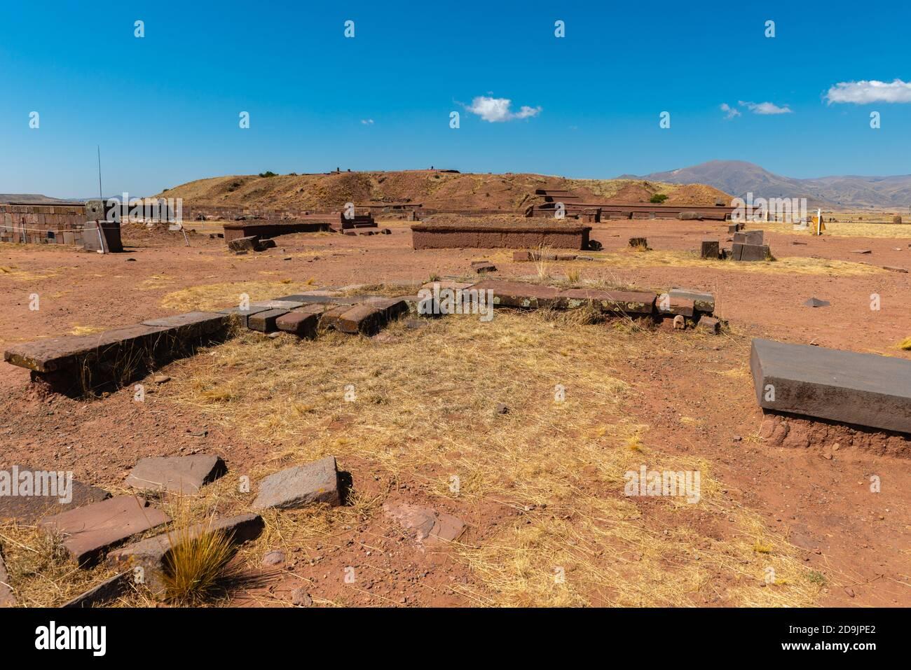 Cuartos cerimoniales Kalasasya, sito archeologico Tiwanaku o Tiahuanaco, patrimonio mondiale dell'UNESCO, Altiplano, la Paz, Bolivia, America Latina Foto Stock