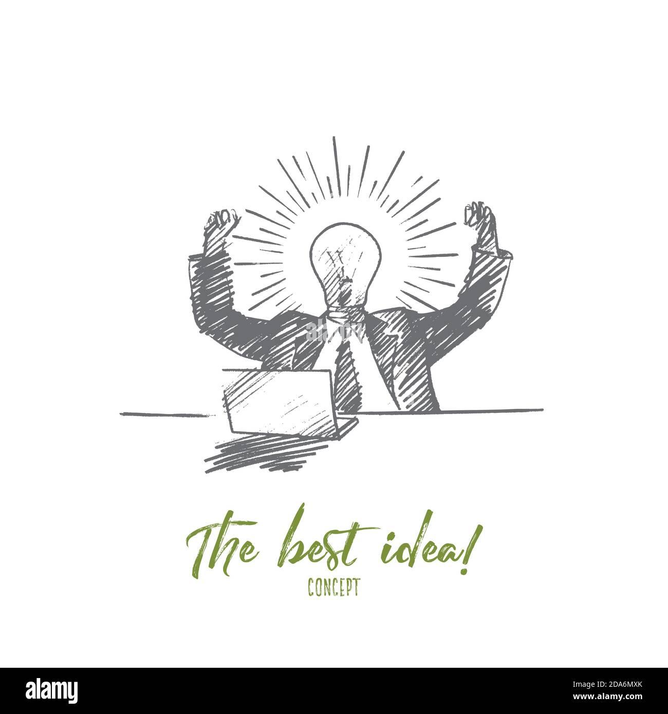 Uomo d'affari disegnato a mano che ottiene grande idea Illustrazione Vettoriale