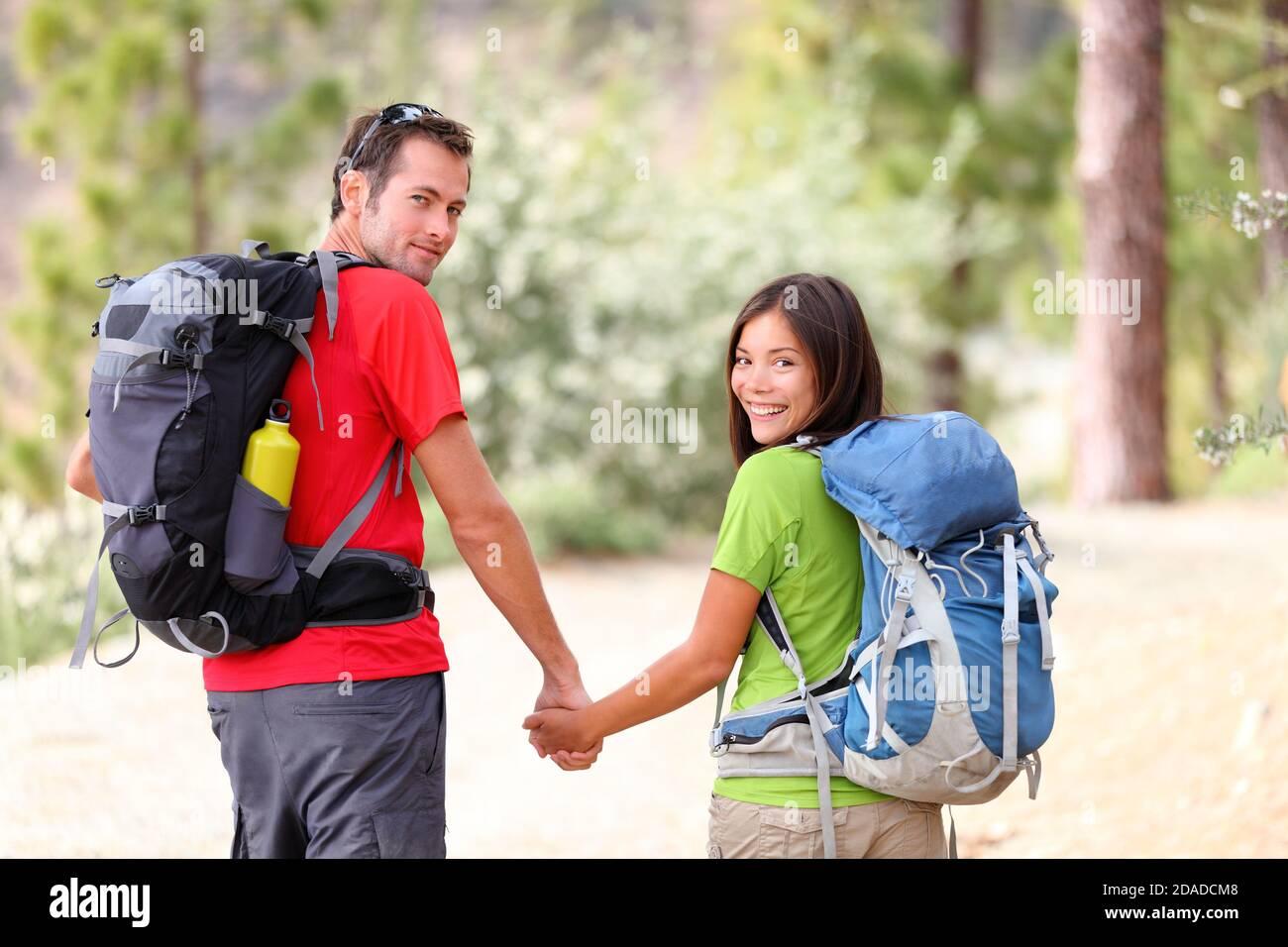 Escursione giovane coppia Foto Stock