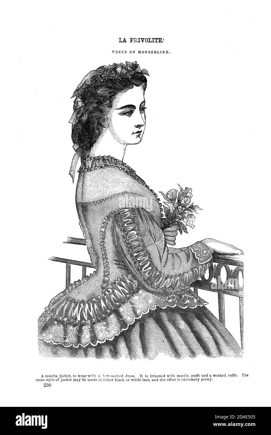 Godey's Fashion per marzo 1864 da Godey's Lady's Book and Magazine, Marc, 1864, Volume LXIX, (Volume 69), Philadelphia, Louis A. Godey, Sarah Josepha Hale, Foto Stock