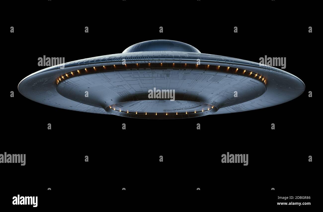 Oggetto Volante non Identificato - UFO. Fantascienza il concetto di immagine di ufologia e di vita al di fuori del pianeta Terra. Percorso di clipping incluso. Foto Stock