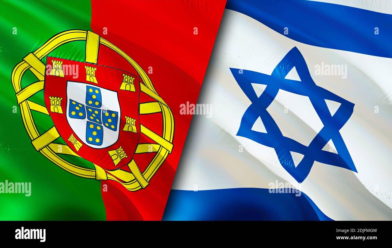 Bandiere del Portogallo e di Israele. Progettazione di bandiere ondulate  3D. Portogallo Israele bandiera, foto, sfondo. Immagine Portogallo vs  Israele,rendering 3D. Portogallo Israele rel Foto stock - Alamy