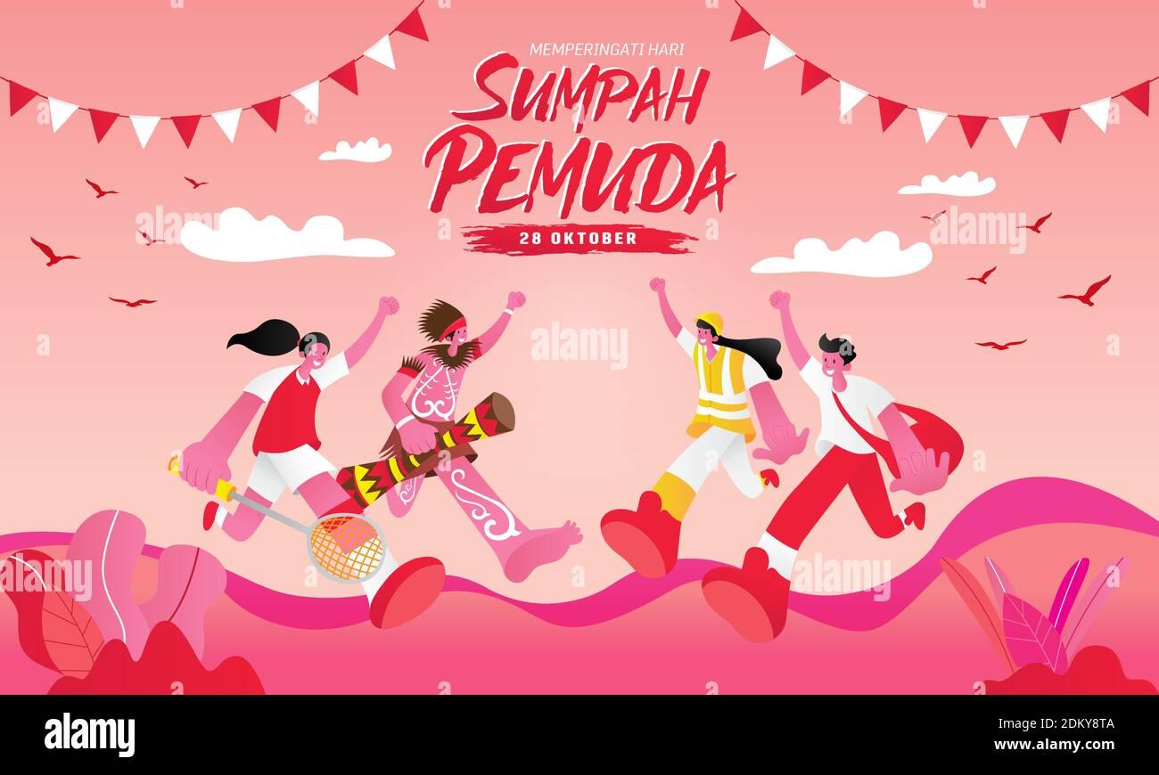 Illustrazione vettoriale. selamat hari Sumpah pemuda. Traduzione: Felice impegno giovanile indonesiano. Adatto per biglietti d'auguri, poster e striscioni Illustrazione Vettoriale