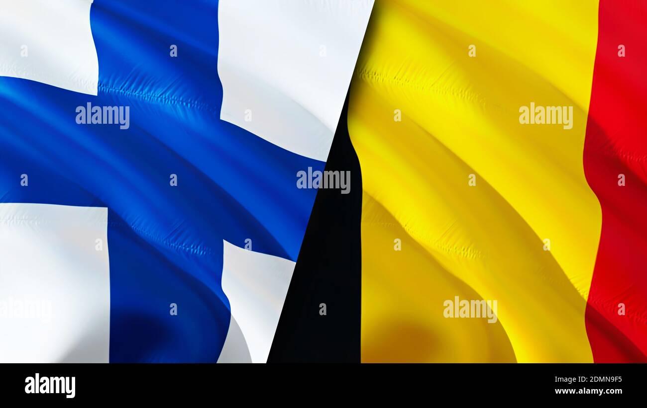Bandiere di Finlandia e Belgio. Progettazione di bandiere ondulate 3D. Finlandia  Belgio bandiera, foto, sfondo. Immagine Finlandia vs Belgio,rendering 3D. Finlandia  Belgio rel Foto stock - Alamy