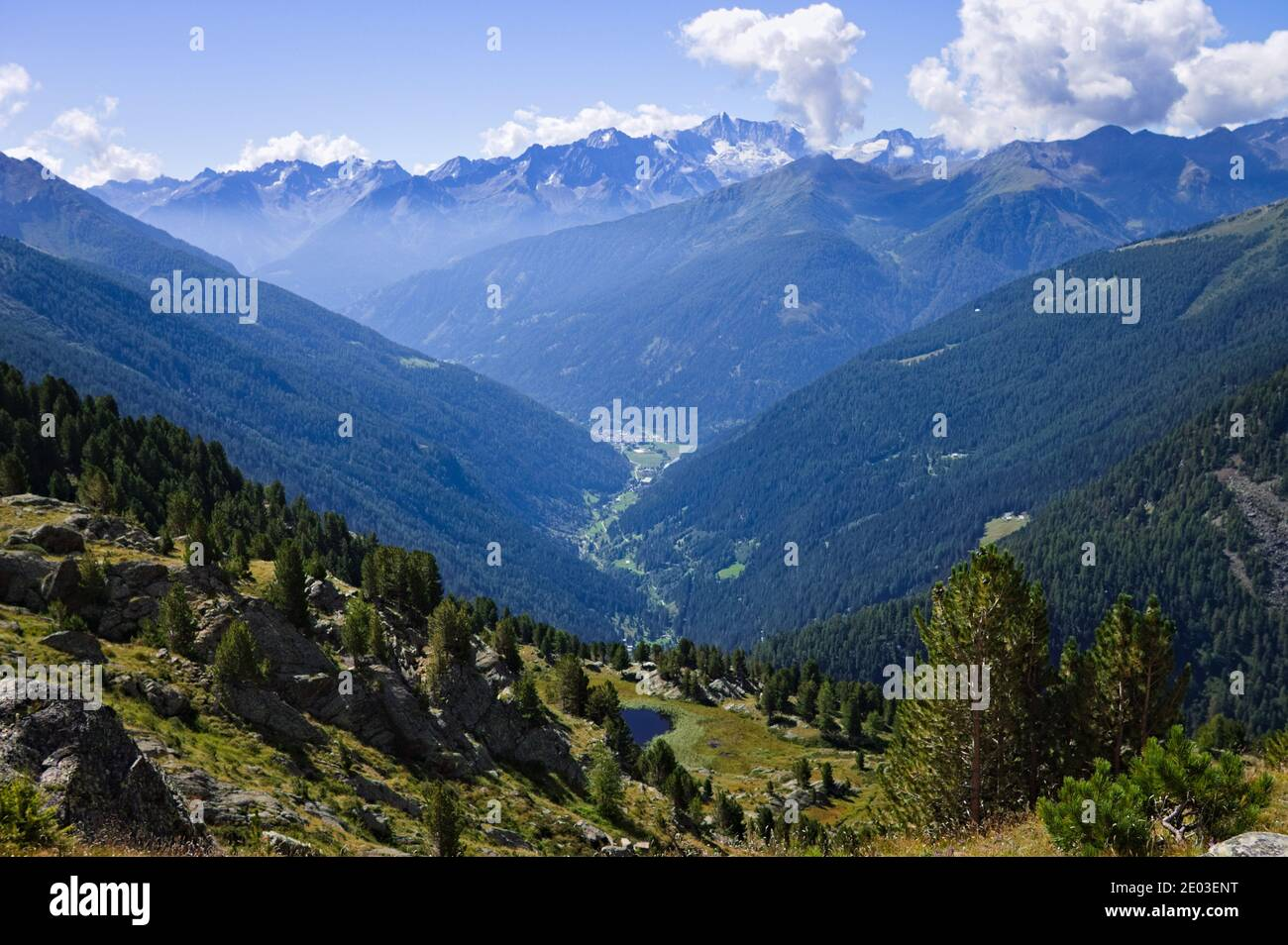 Vista dalla cima delle montagne della valle del Peio in Trentino-Alto Adige (Alpi, Italia, Europa) Foto Stock