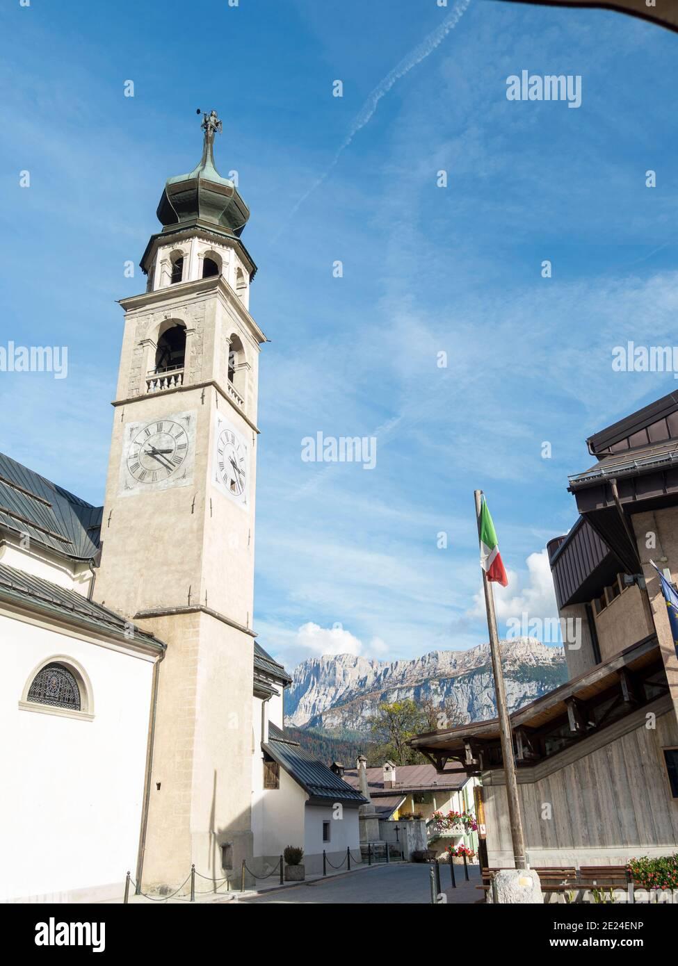 La chiesa di canale d'Agordo in Val Biois . Europa, Europa centrale, Italia Foto Stock