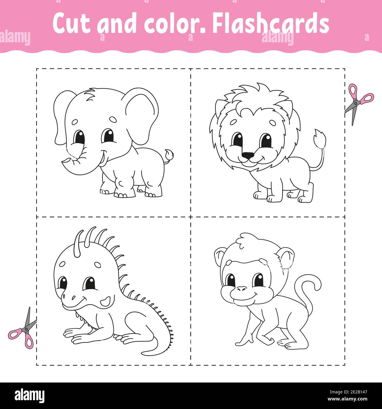 Taglio E Colore Set Di Flashcard Leone Scimmia Iguana Elefante Libro Da Colorare Per Bambini Personaggio Cartoon Animale Carino Immagine E Vettoriale Alamy