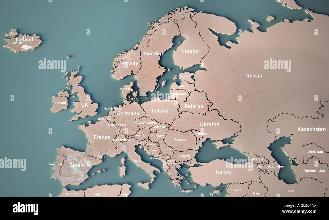 Europa Meridionale Cartina.Mappa Fisica Dell Europa Centrale O Deutschland Immagini E Fotos Stock Alamy