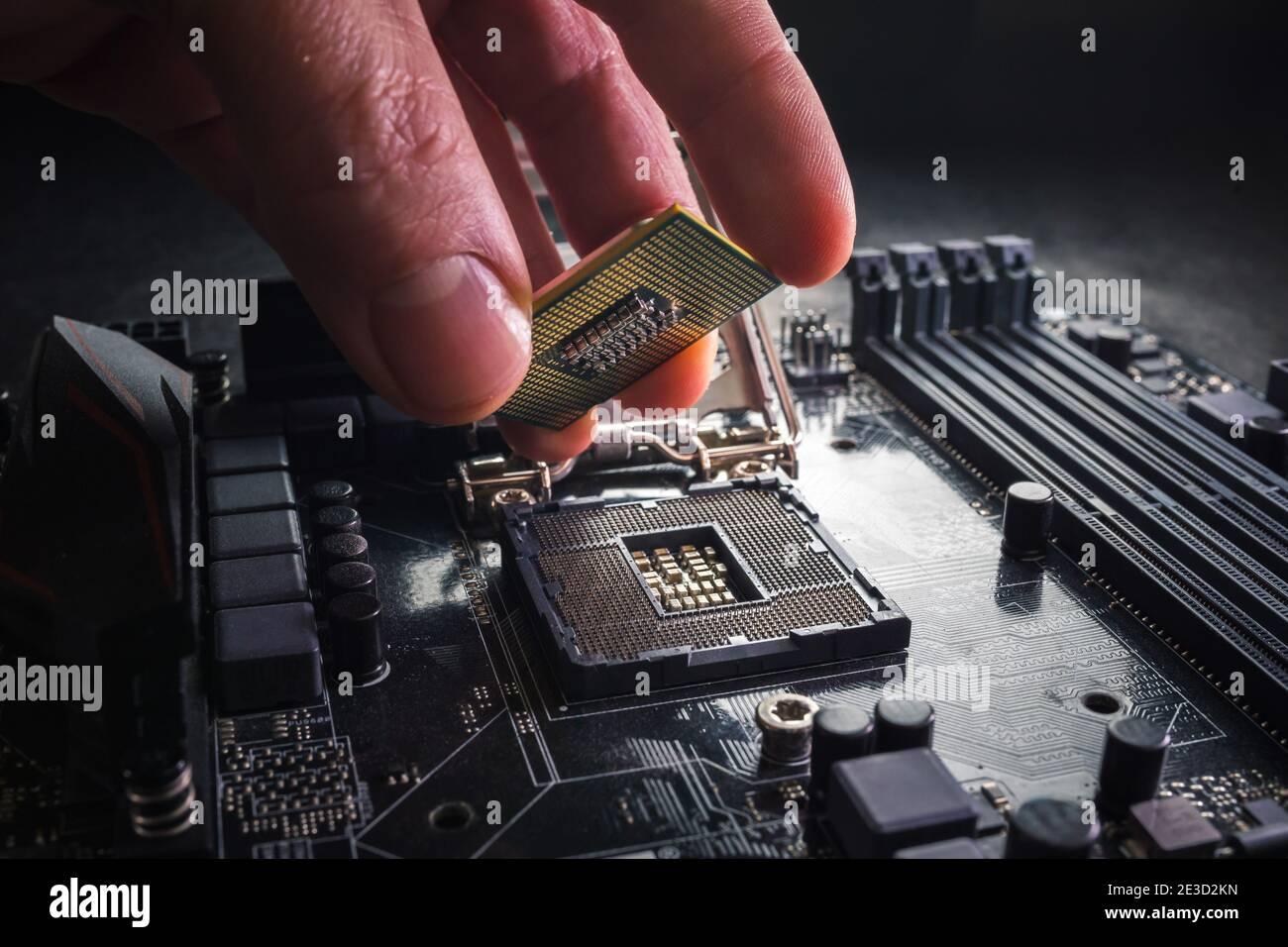 Il tecnico collega il microprocessore della CPU al socket della scheda madre. Contesto del workshop. Concetto di aggiornamento o riparazione del PC. Foto Stock
