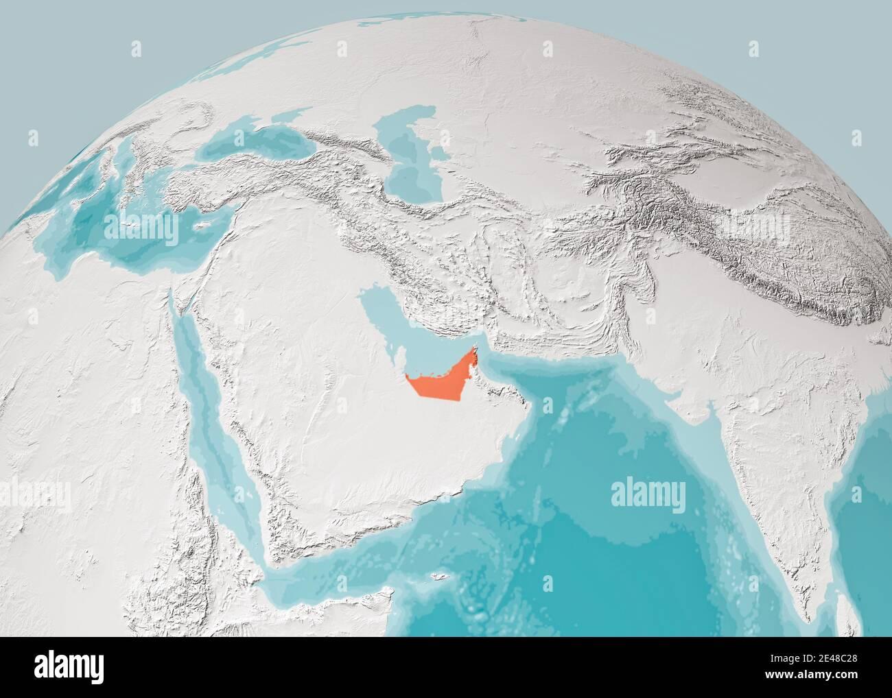 Medio Oriente Cartina Fisica.Mappa Del Globo Della Penisola Arabica Mappa Fisica Del Medio Oriente Rendering 3d Mappa Con Rilievo E Montagne Emirati Arabi Uniti Foto Stock Alamy