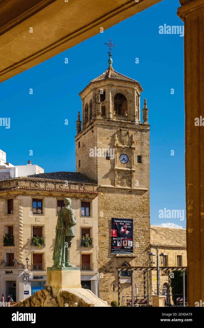 Torre dell'orologio in Piazza Andalusia, Ubeda, patrimonio dell'umanità dell'UNESCO. Provincia di Jaen, Andalusia, Spagna meridionale Europa Foto Stock