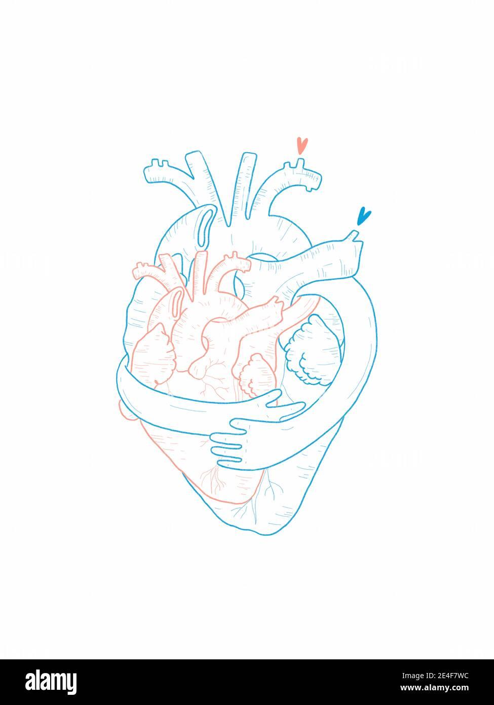 Disegno a mano Illustrazione di due cuori che si abbracciano l'un l'altro Foto Stock