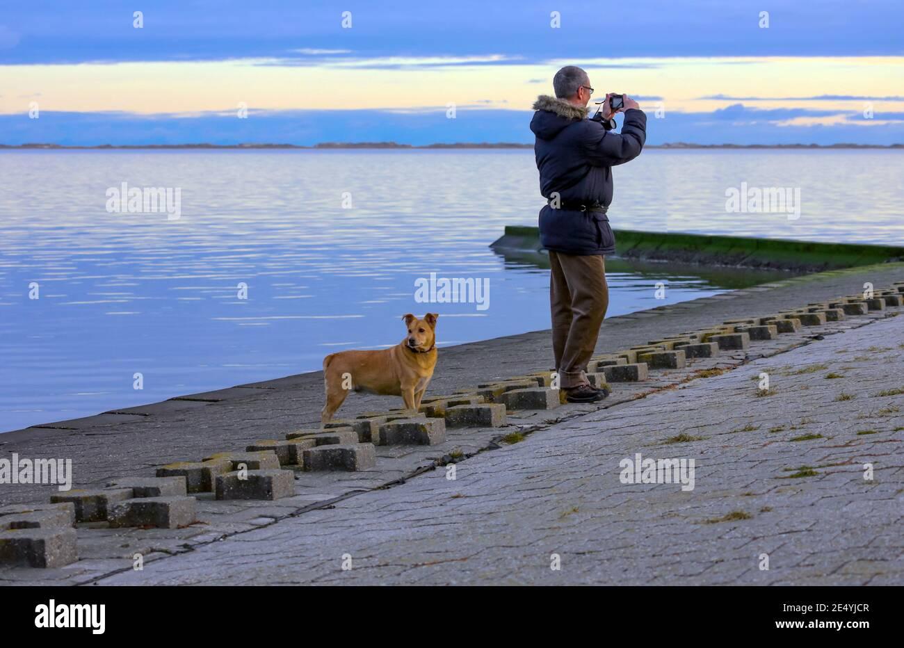 Un uomo scatta una foto del Mare del Nord. Il suo cane sta guardando in una direzione diversa. Tutti possono godersi il mare a modo proprio. Foto Stock