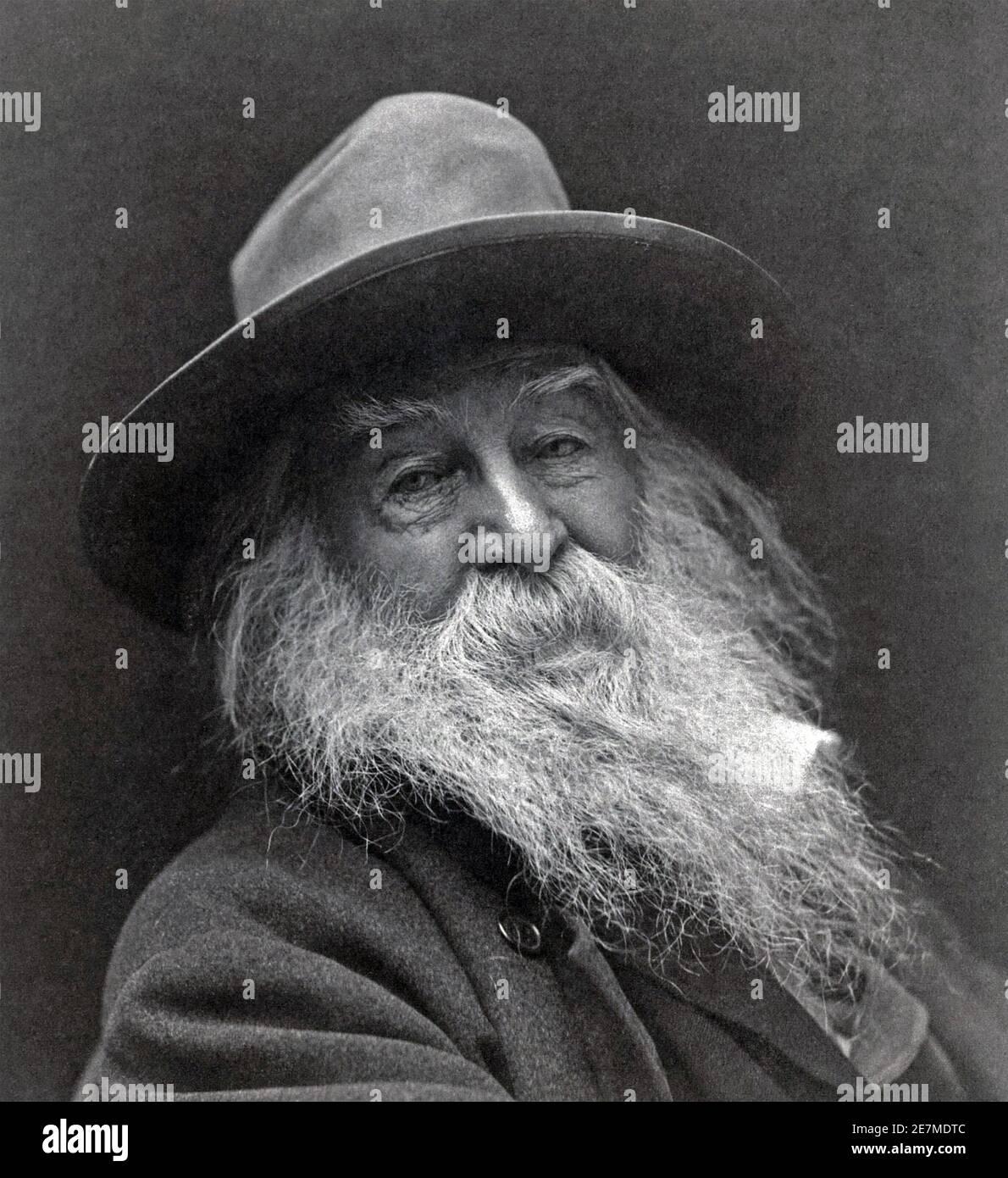 WALT WHITMAN (1819-1892) poeta e giornalista americano nel 1887. Foto: George Cox. Foto Stock