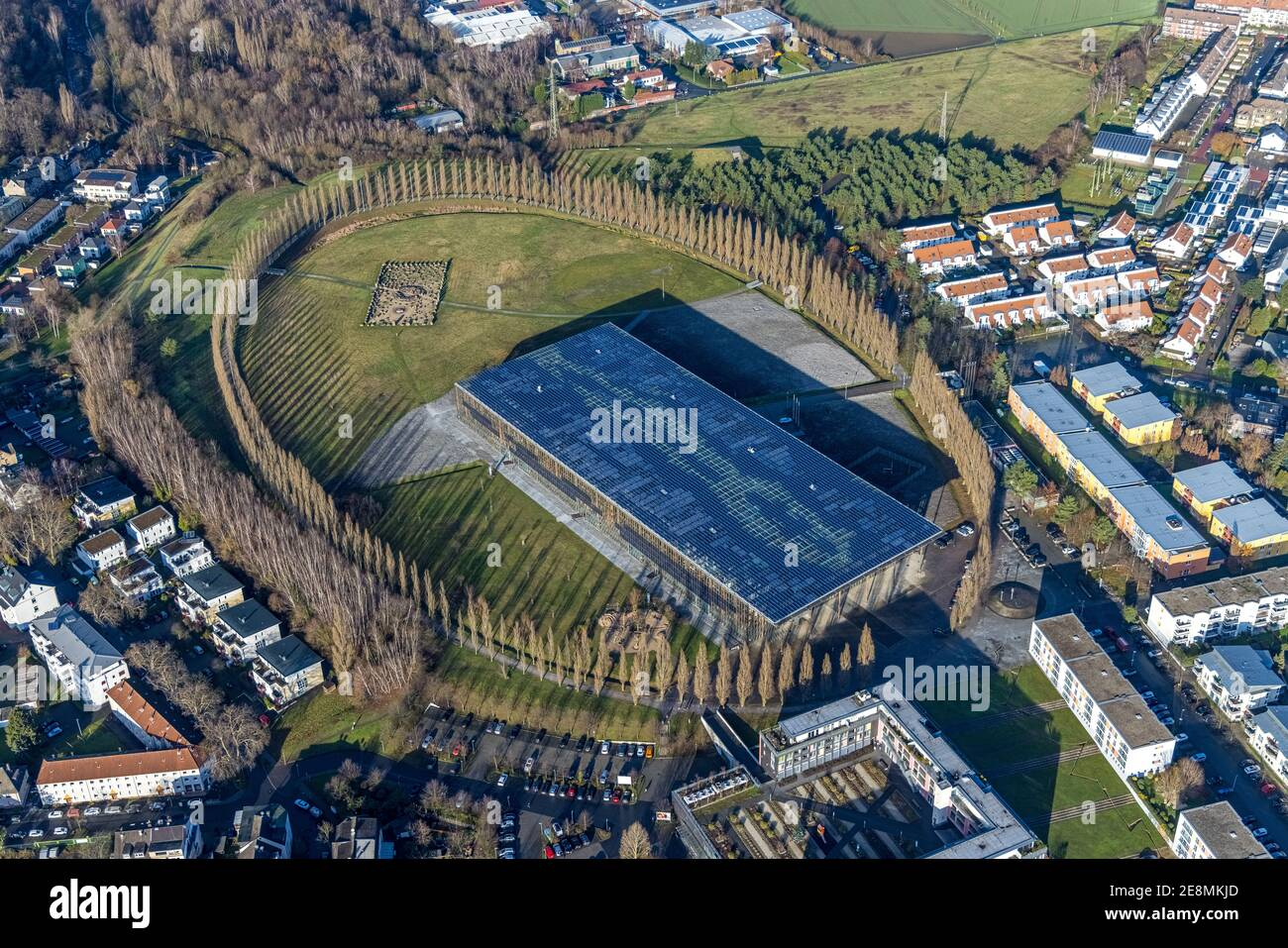 Foto aerea, tree avenue Mont-Cenis collery, Mont-Cenis Academy, Sodingen, Herne, Ruhr area, Nord Reno-Westfalia, Germania, tree circle, DE, energ Foto Stock