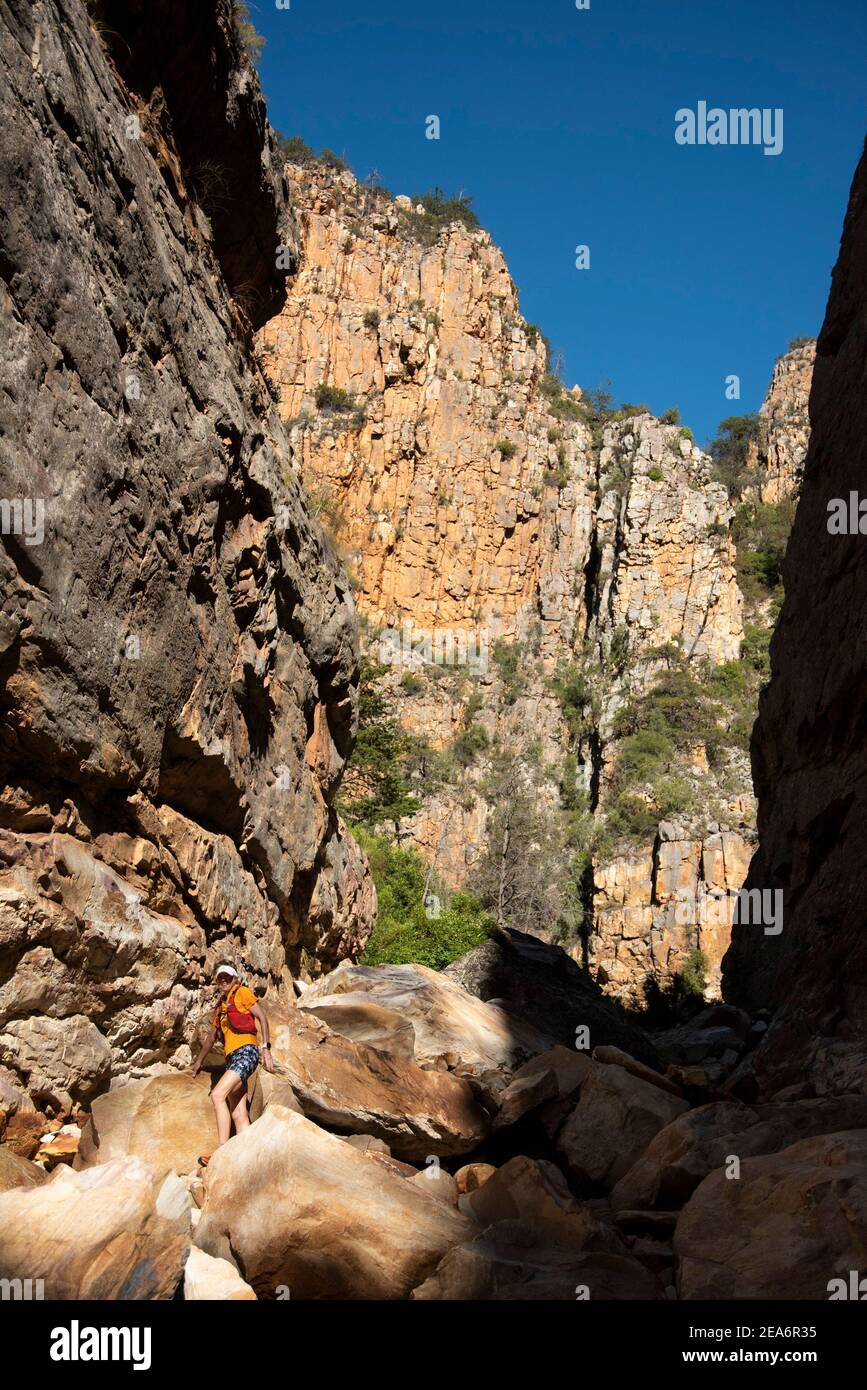 Escursioni / kloofing a Cedar Falls, Baviaanskloof, Sud Africa Foto Stock