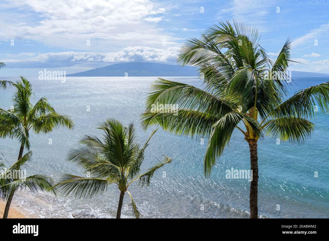 Isola tropicale - una giornata di sole luminoso sulla costa nord-occidentale dell'isola di Maui, con l'isola di Lanai all'orizzonte. Maui, Hawaii, Stati Uniti. Foto Stock