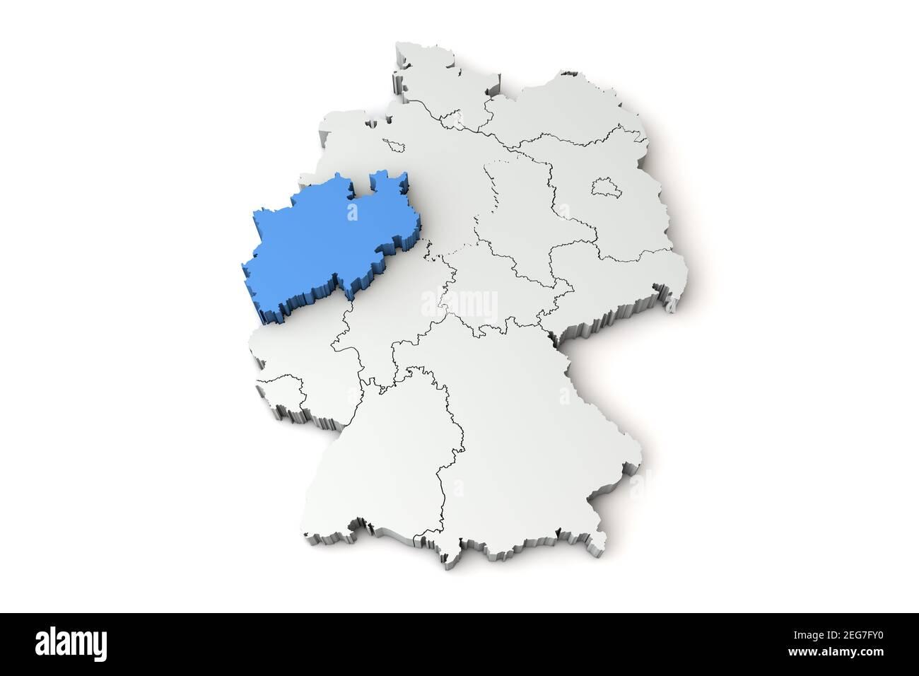 Mappa della Germania che mostra la regione della Renania Settentrionale-Vestfalia. Rendering 3D Foto Stock
