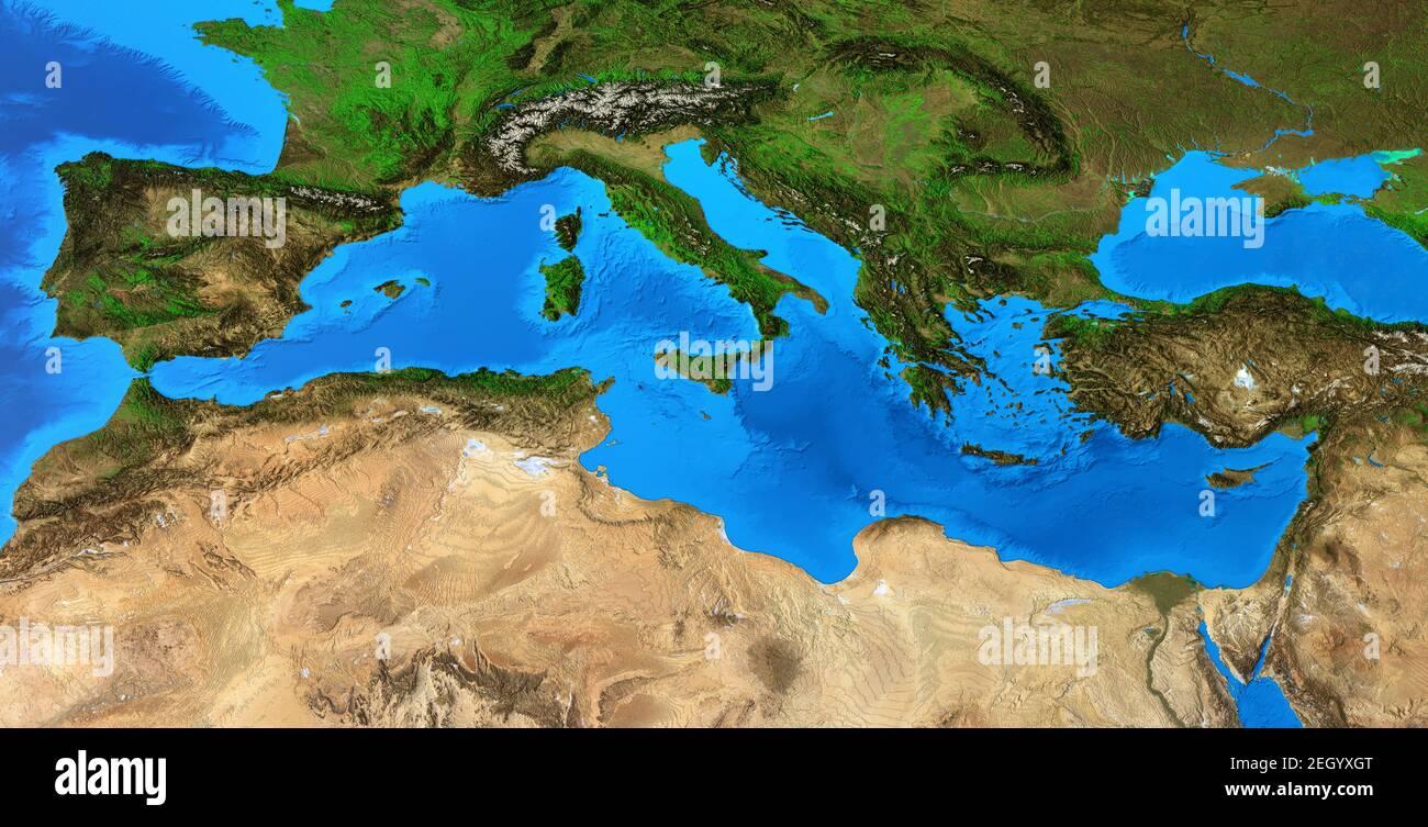 Cartina Fisica Del Mediterraneo.Mappa Mediterranea Immagini E Fotos Stock Alamy