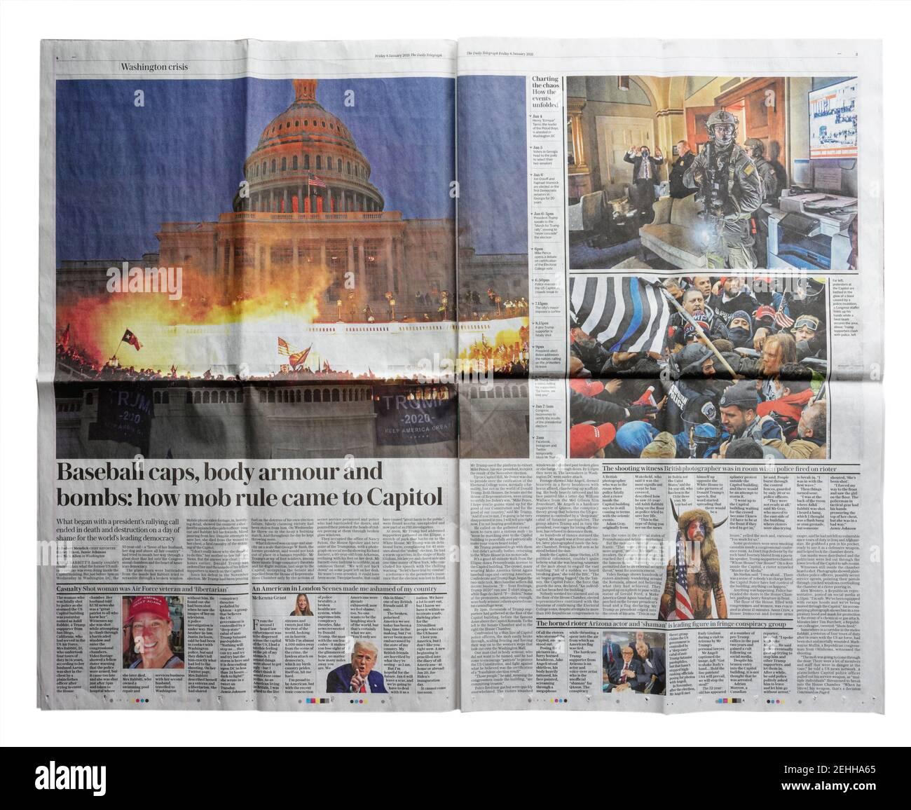 Una doppia pagina di diffusione del quotidiano Daily Telegraph circa L'invasione del Campidoglio del 6 gennaio 2021 Foto Stock