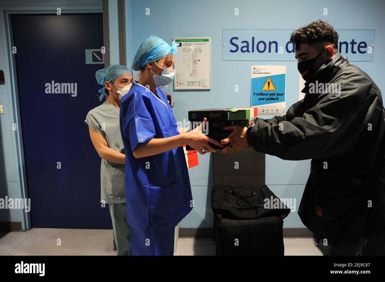 Incontro di trasmissione in ospedale Foto Stock
