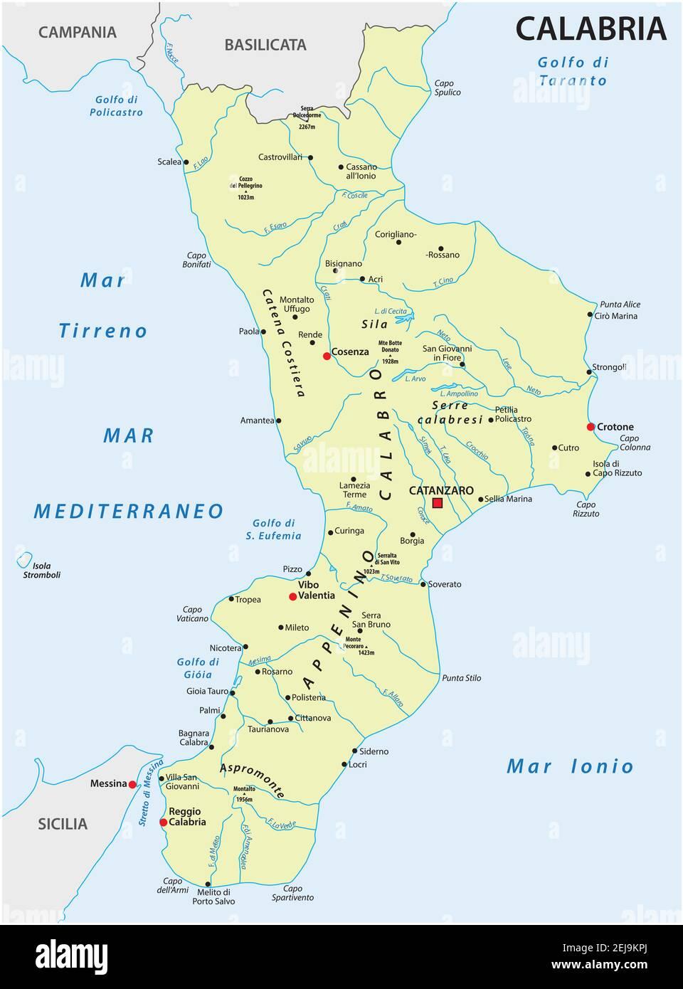 Regione Calabria Cartina Politica.Calabria Region Map Immagini E Fotos Stock Alamy