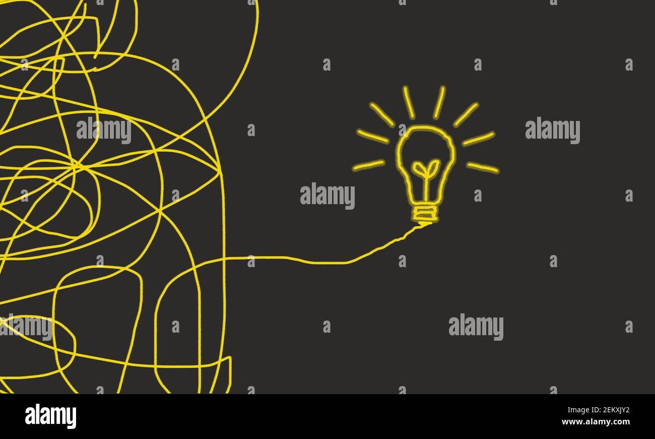 Modo complicato per il modo di soluzione , caos, lampadina di passaggio - Vista dall'alto in sfondo grigio. Idea concettuale innovazione Foto Stock