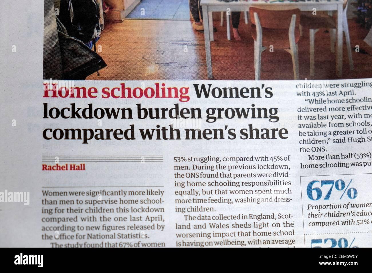 'Home schooling carico di blocco delle donne che cresce rispetto alla quota degli uomini' Giornale Guardian titolo articolo Covid all'interno della pagina 20 Febbraio 2021 REGNO UNITO Foto Stock