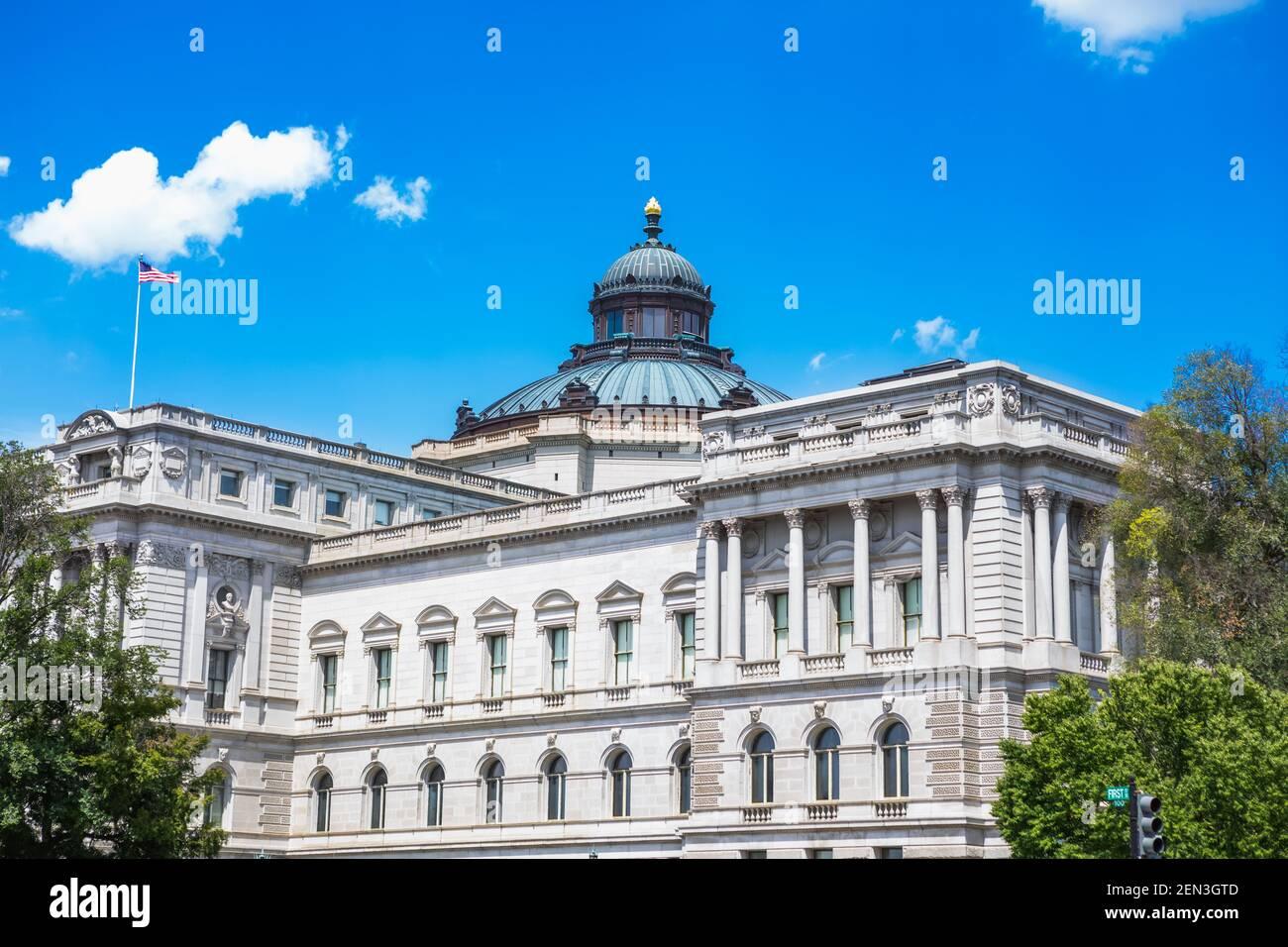 Esterno della Biblioteca del Congresso Thomas Jefferson Building su Capitol Hill a Washington, DC Foto Stock