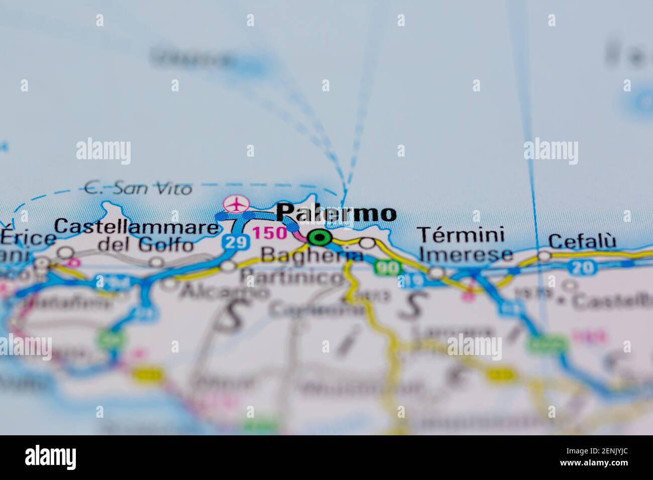 Sicilia Occidentale Cartina Stradale.Palermo Map Immagini E Fotos Stock Alamy