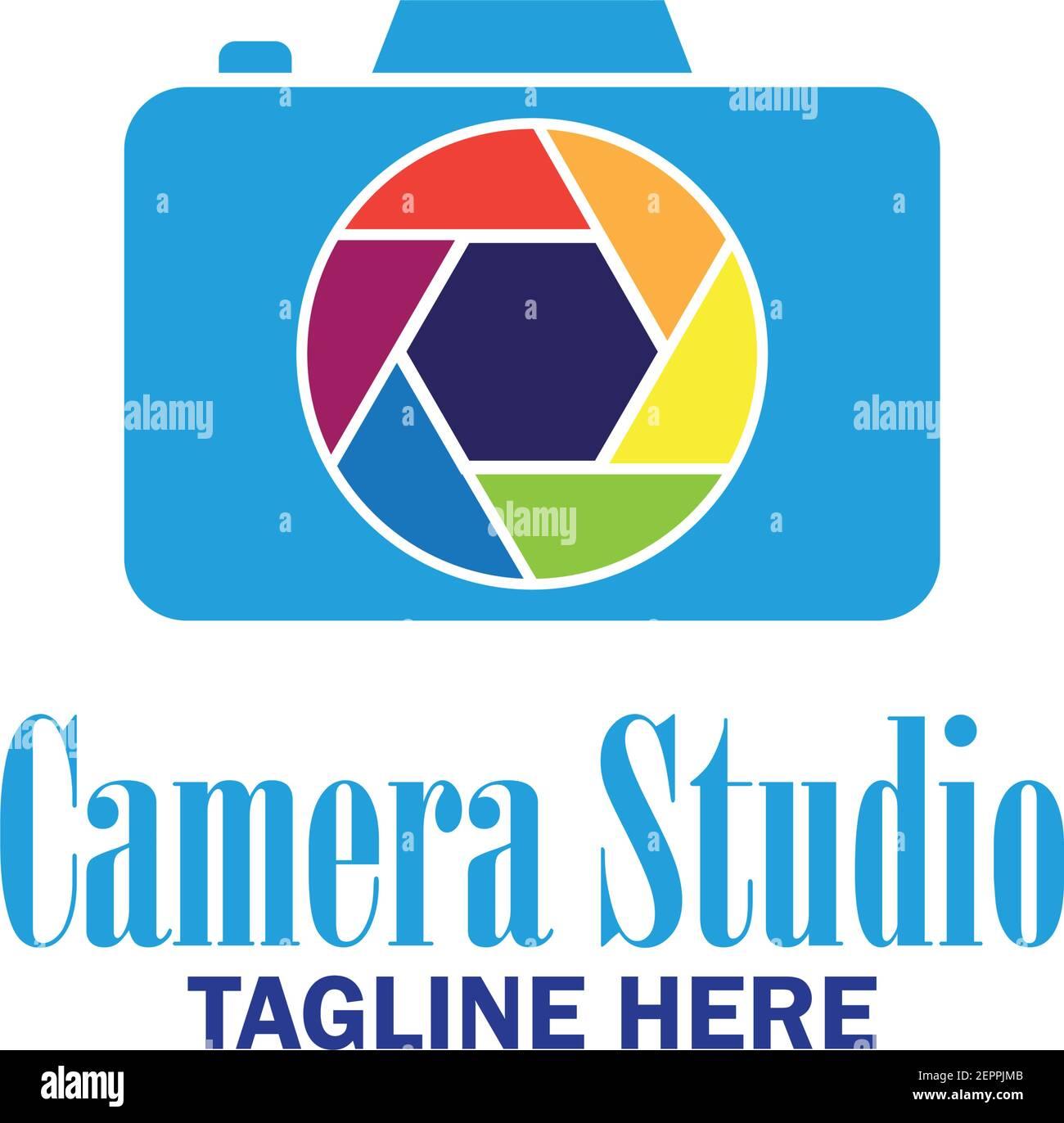 studio della fotocamera, otturatore, icona della memoria della fotocamera con spazio di testo per il tuo slogan, illustrazione vettoriale Illustrazione Vettoriale