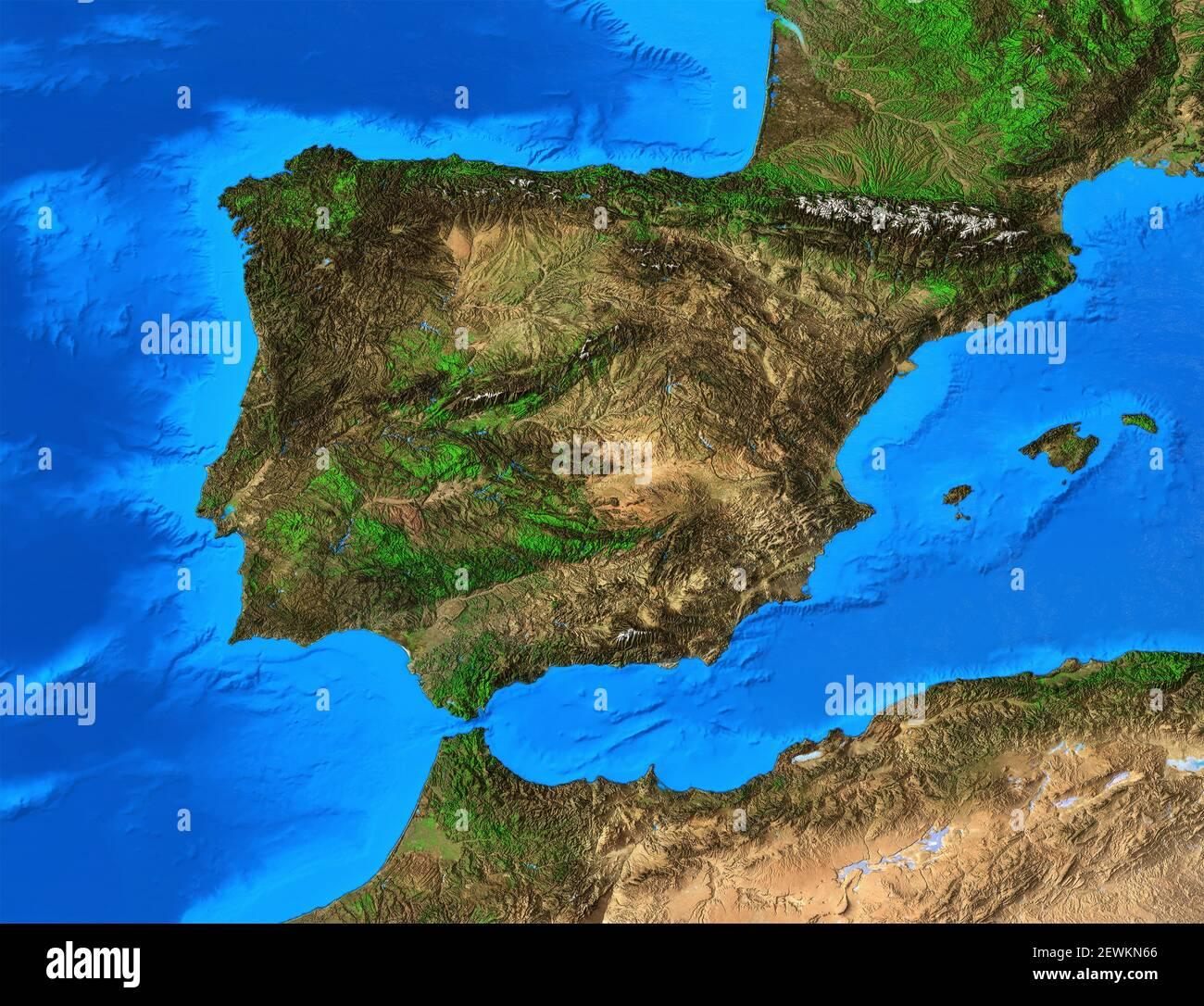 Portogallo Spagna Cartina.Mappa Fisica Spagna Immagini E Fotos Stock Alamy